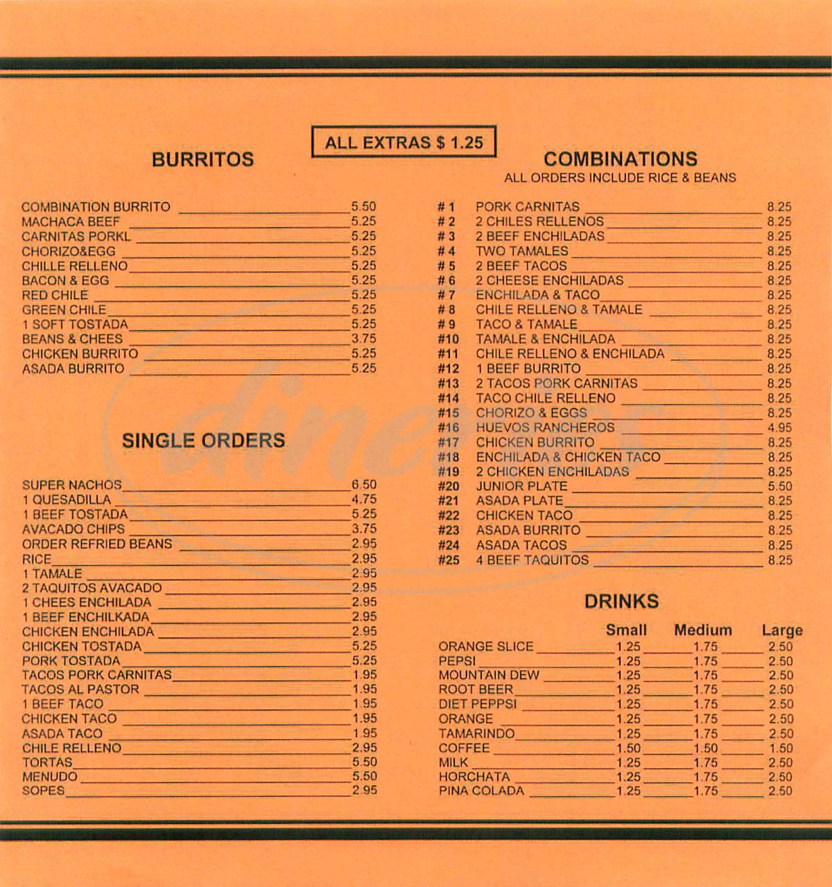 menu for Burritos el Chavo