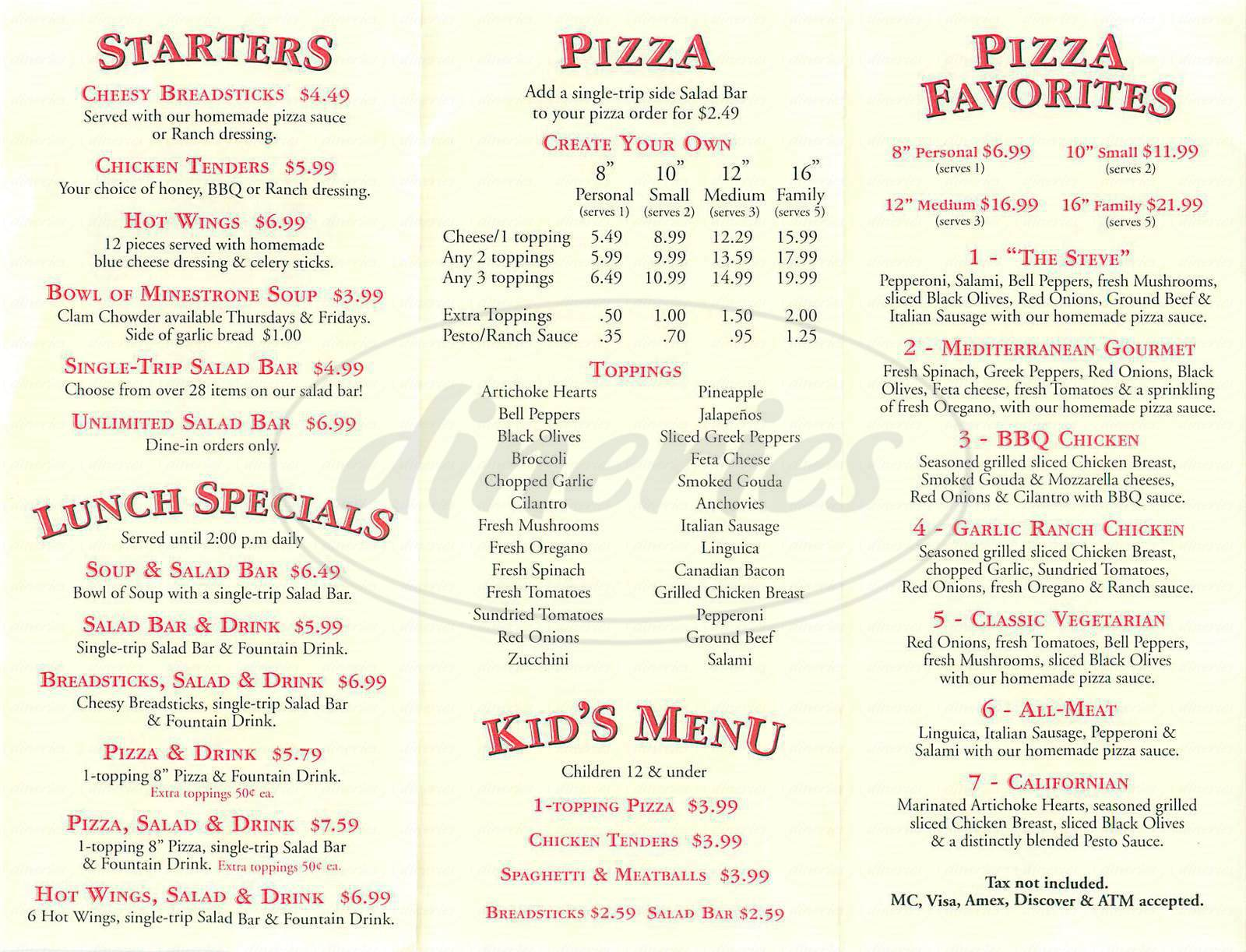 menu for Steves Pizza