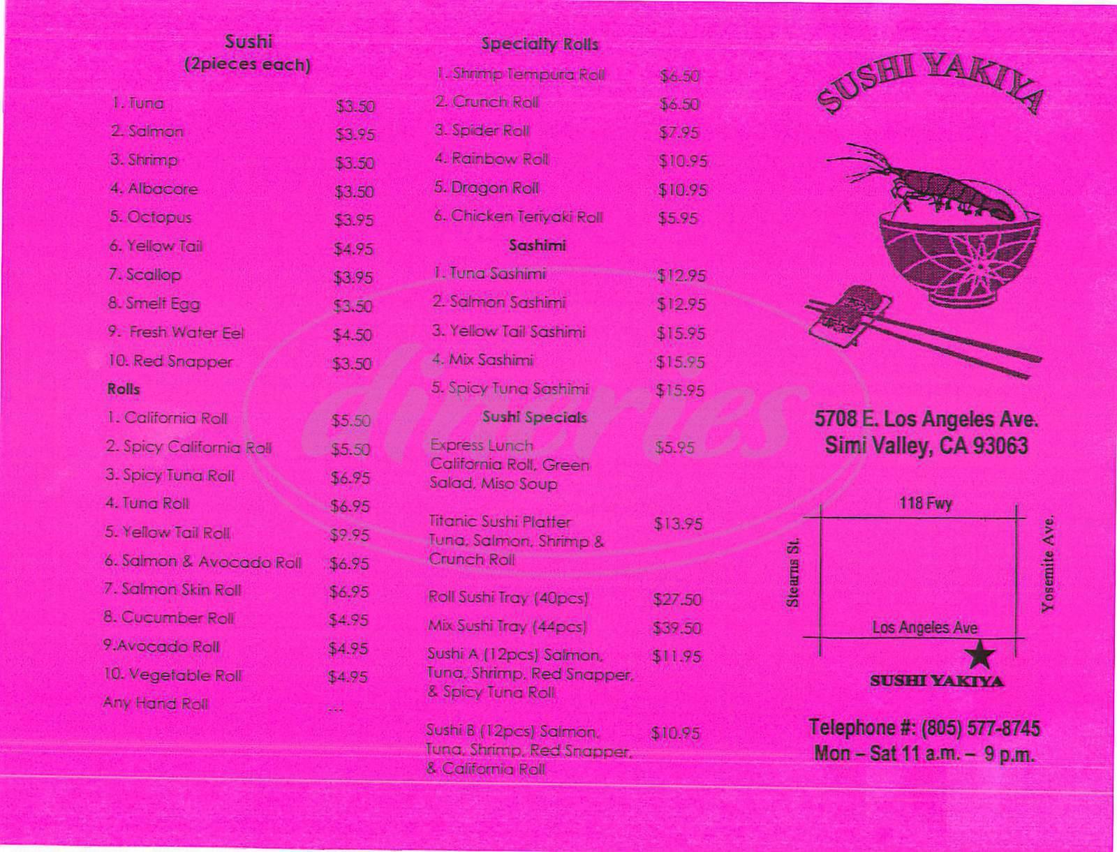 menu for Sushi Yakiya