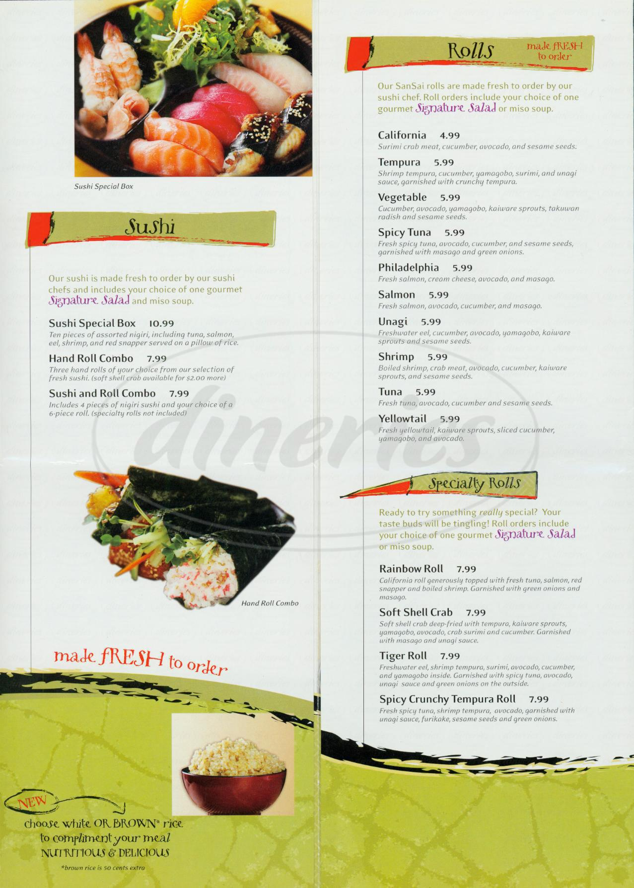 Big menu for San Sai Japanese Grill, Los Angeles