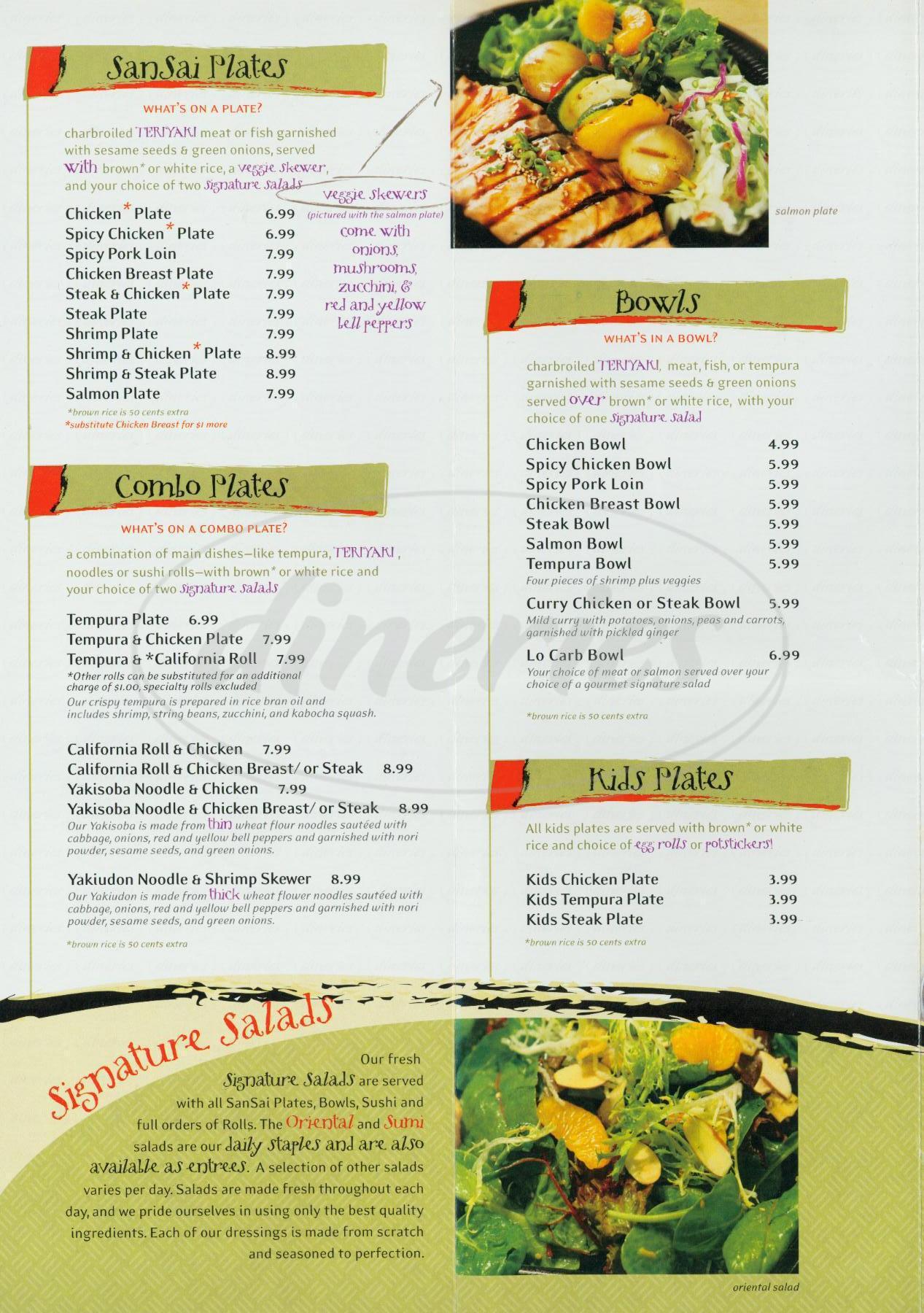 menu for San Sai Japanese Grill