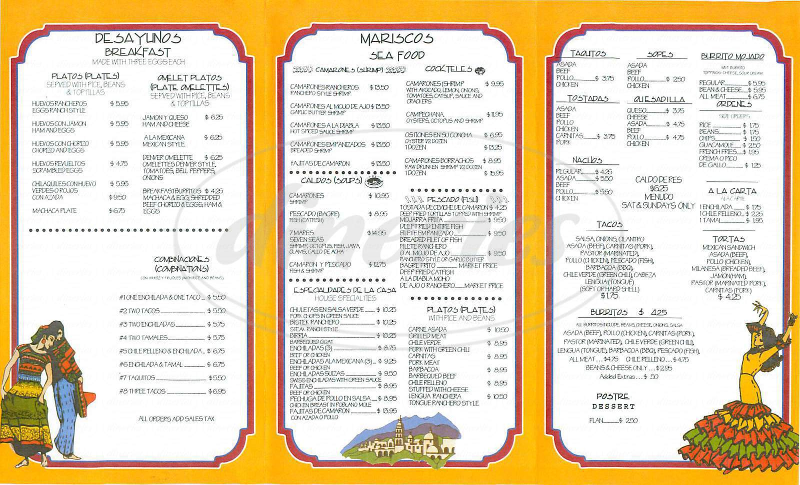 menu for Super Antojitos