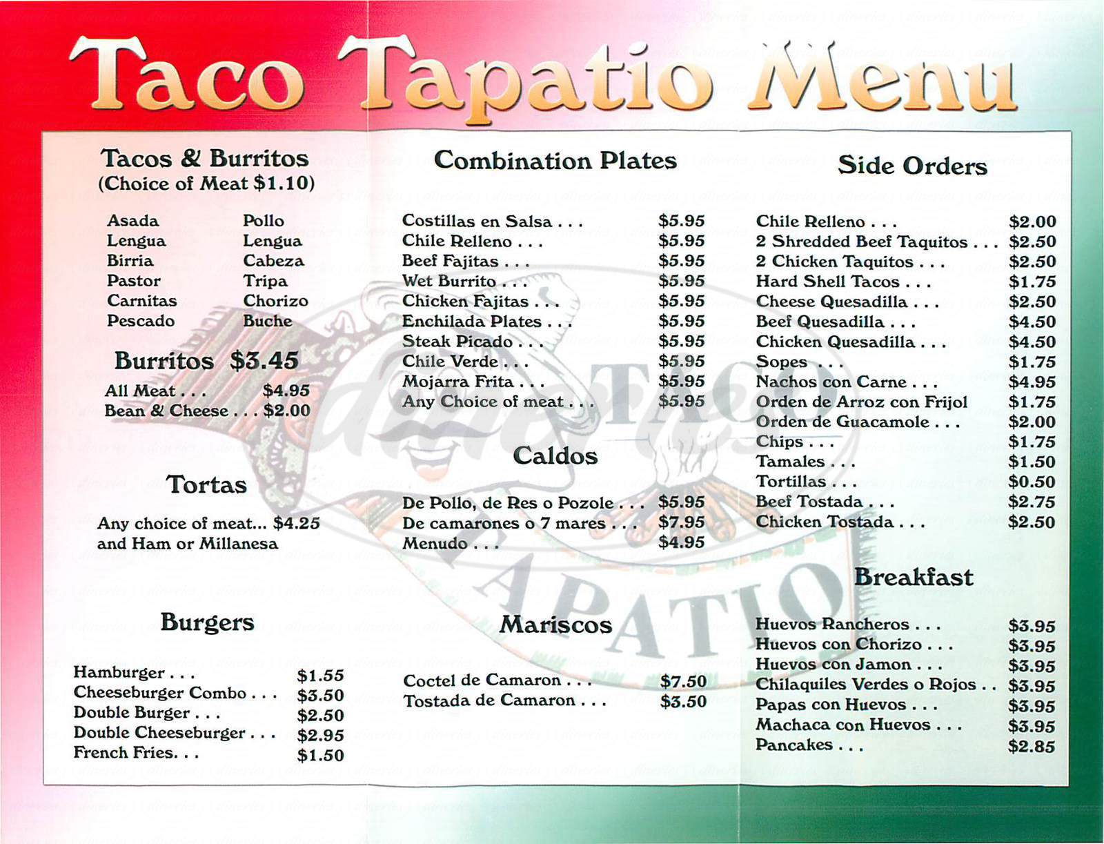 menu for Taco Tapatio