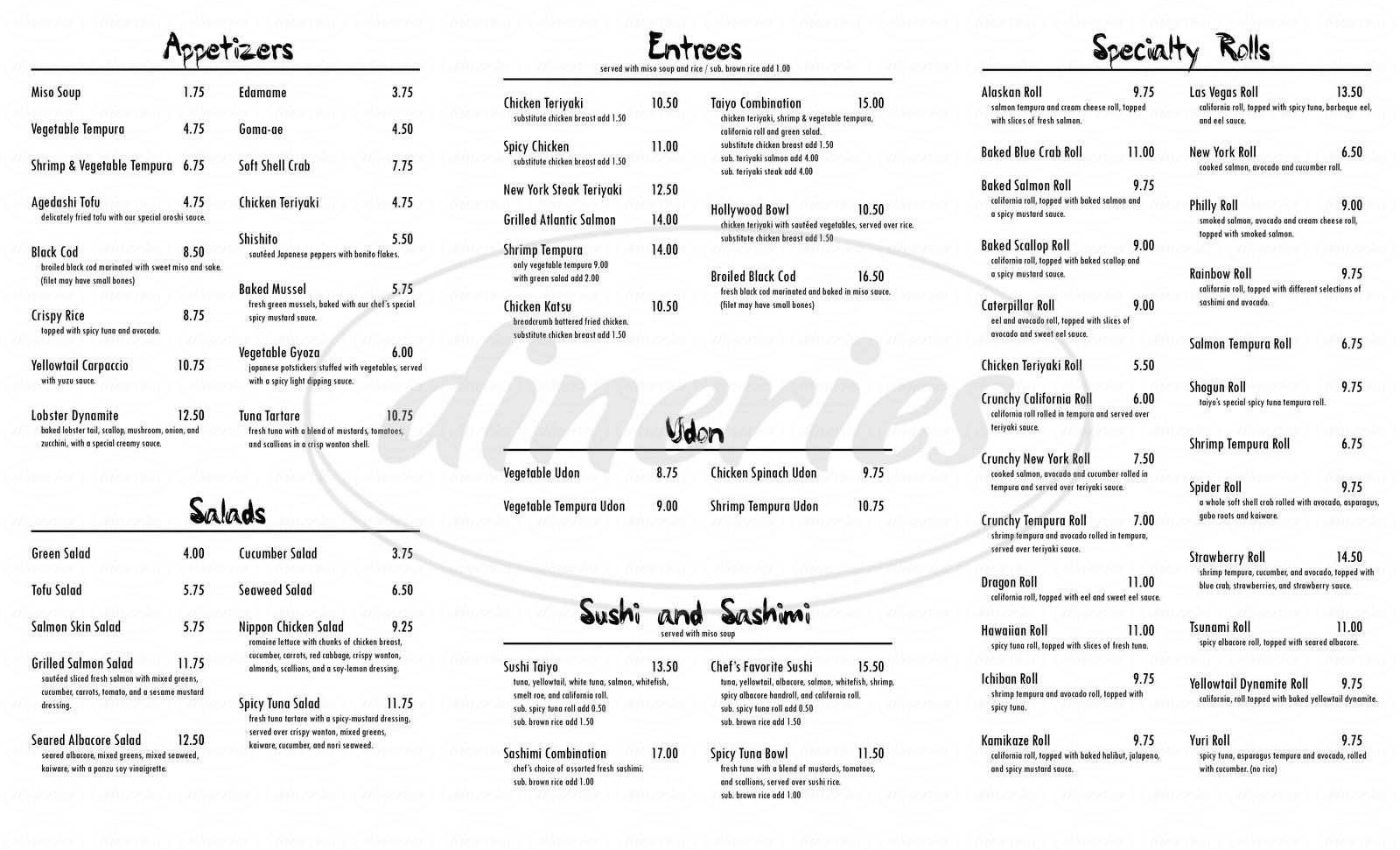 menu for Sushi Taiyo