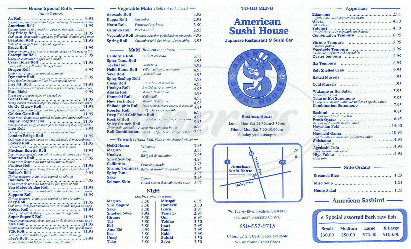 menu for American Sushi House