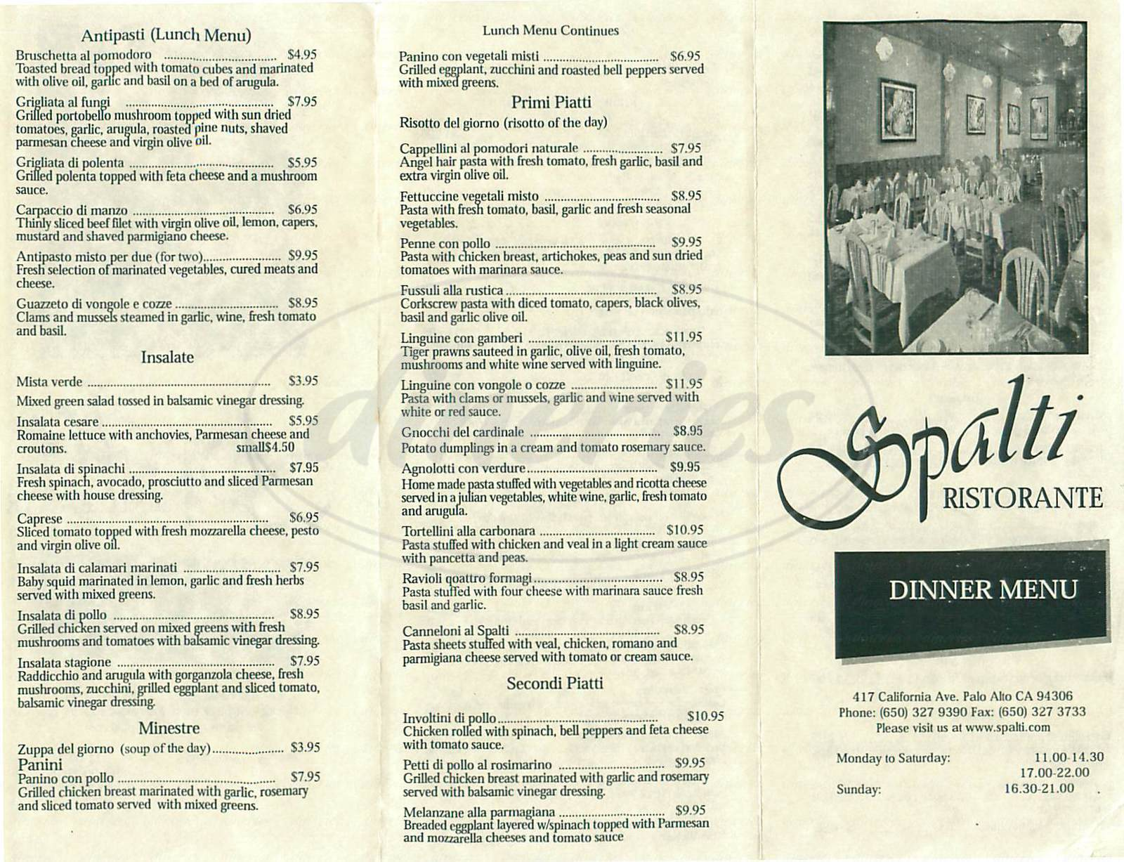 menu for Spalti Ristorante