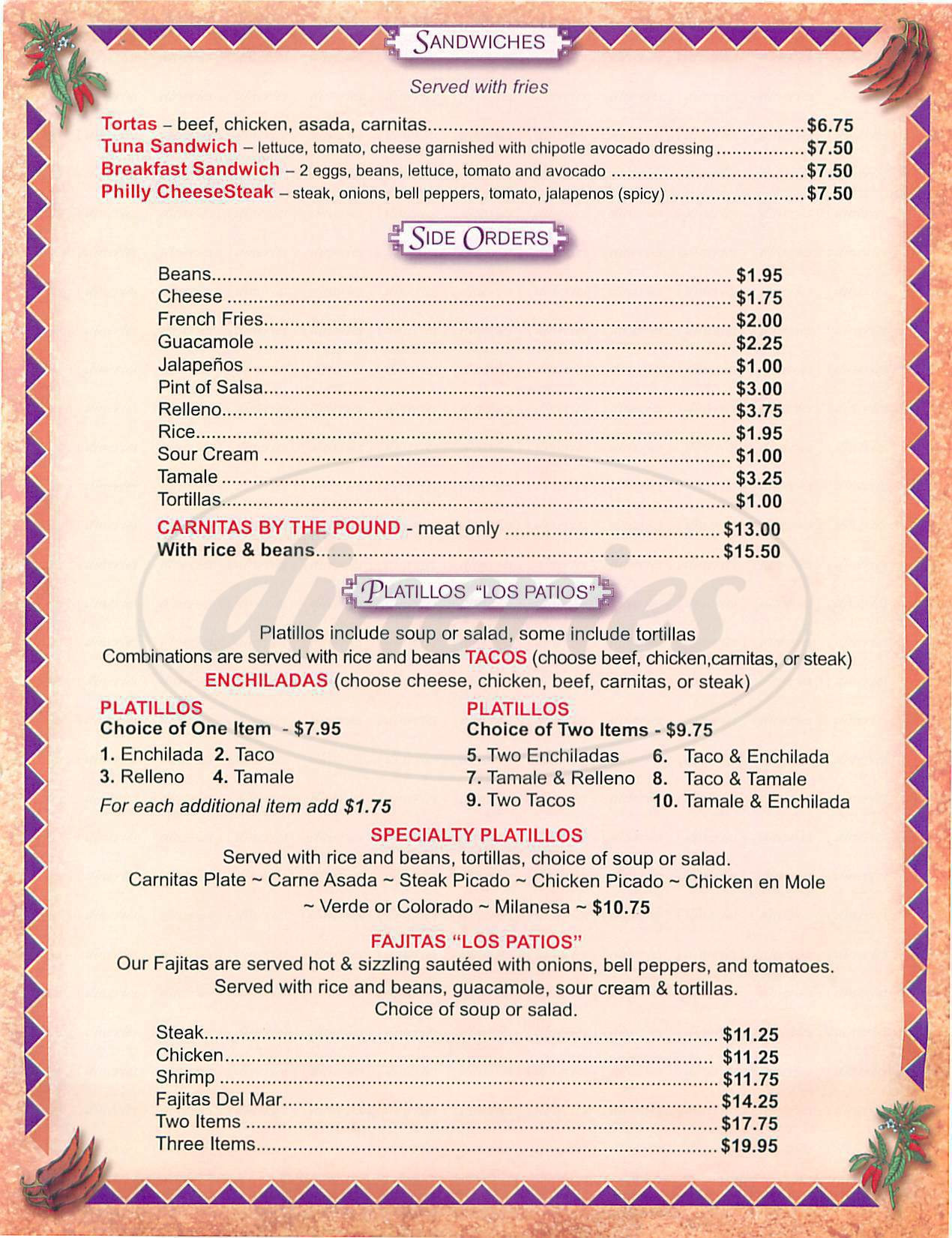 menu for Los Patios