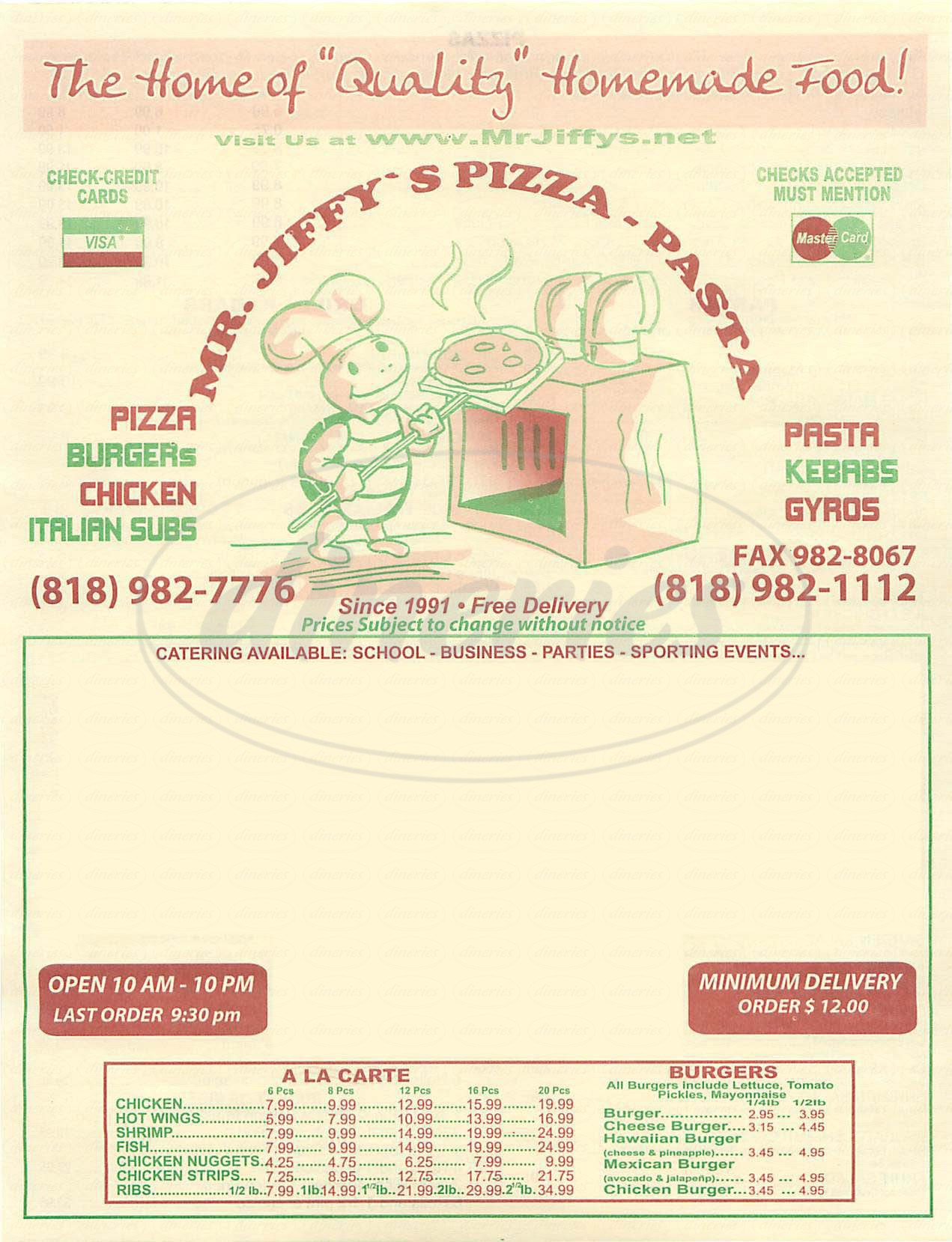 menu for Mr. Jiffy's Pizza