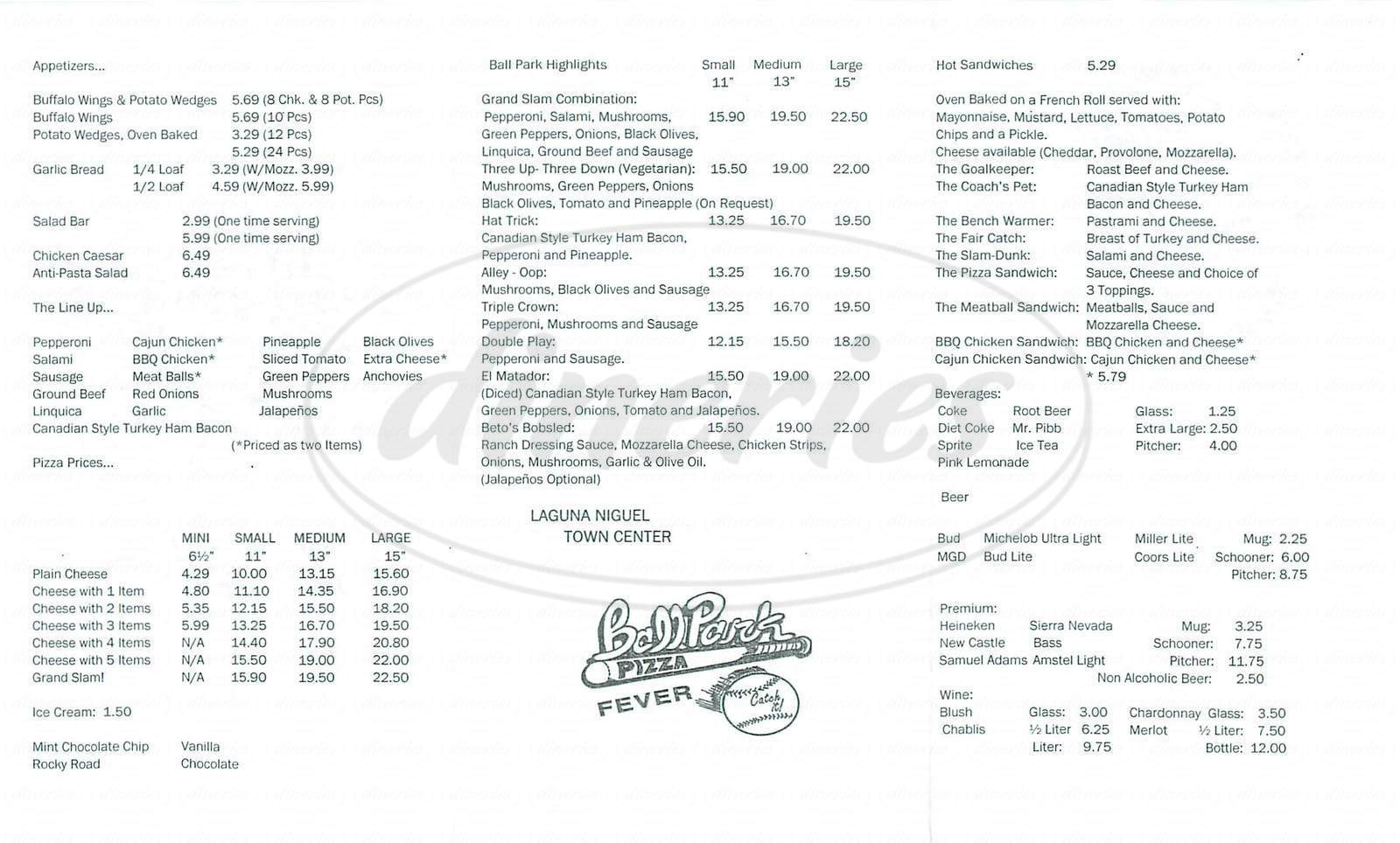 menu for Ball Park Pizza