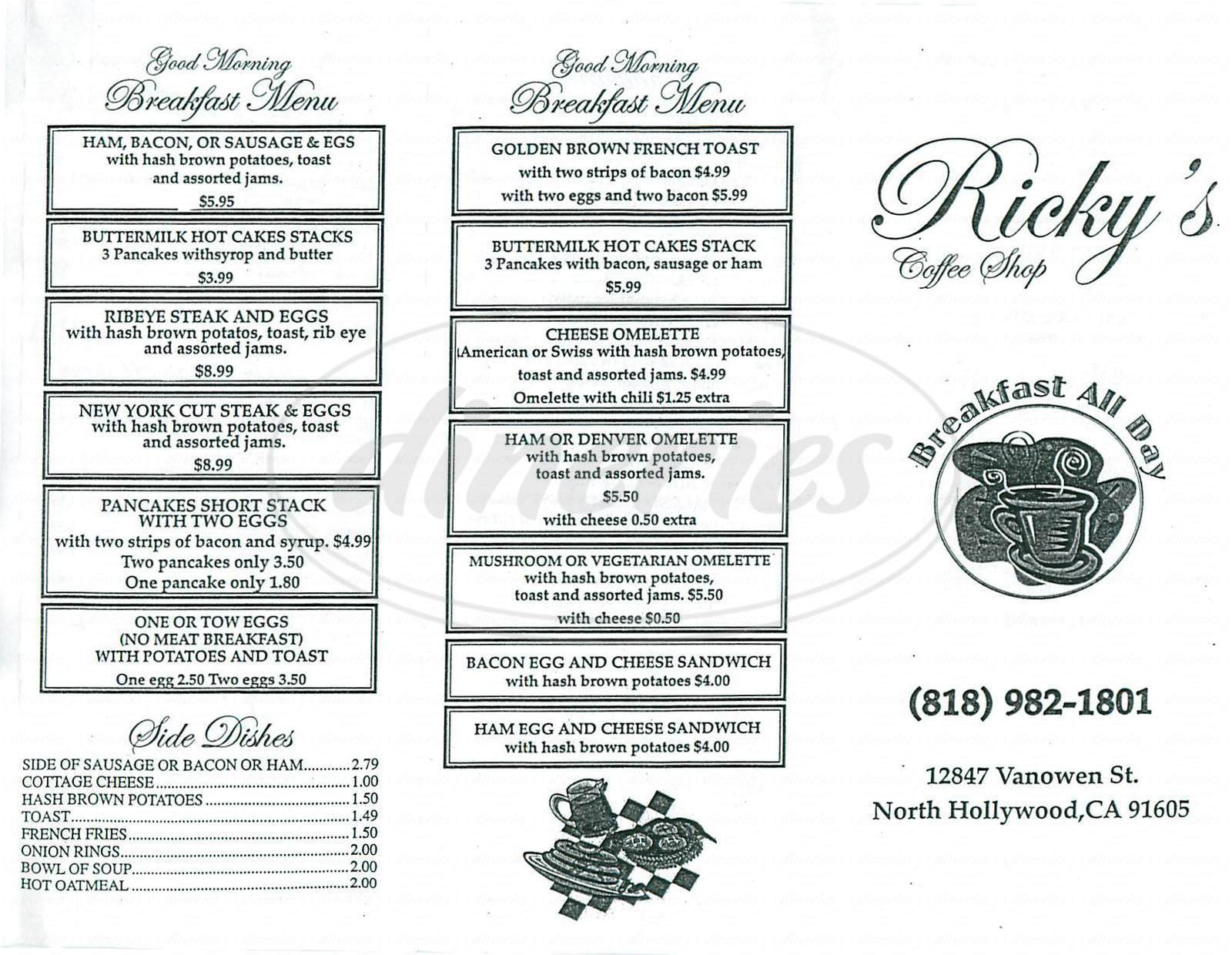 menu for Ricky's Coffee Shop