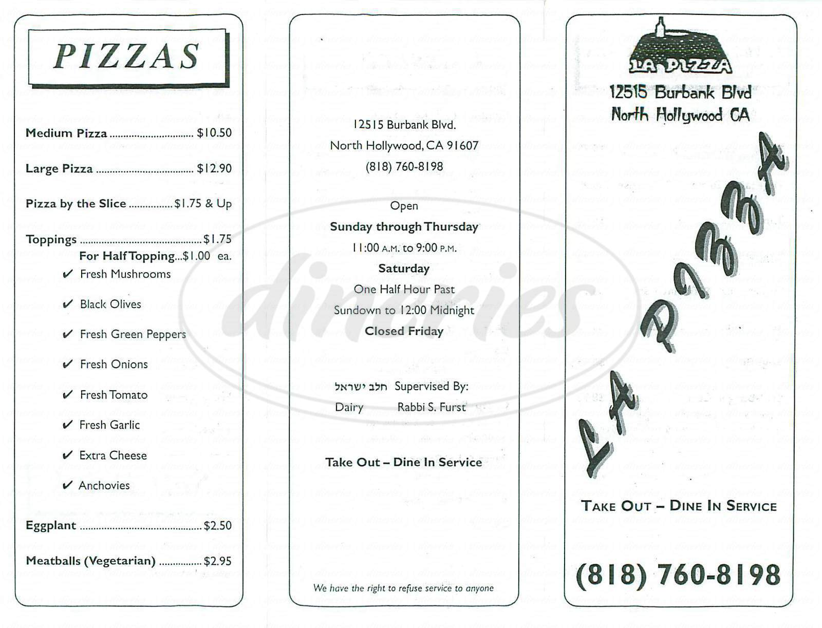 menu for La Pizza
