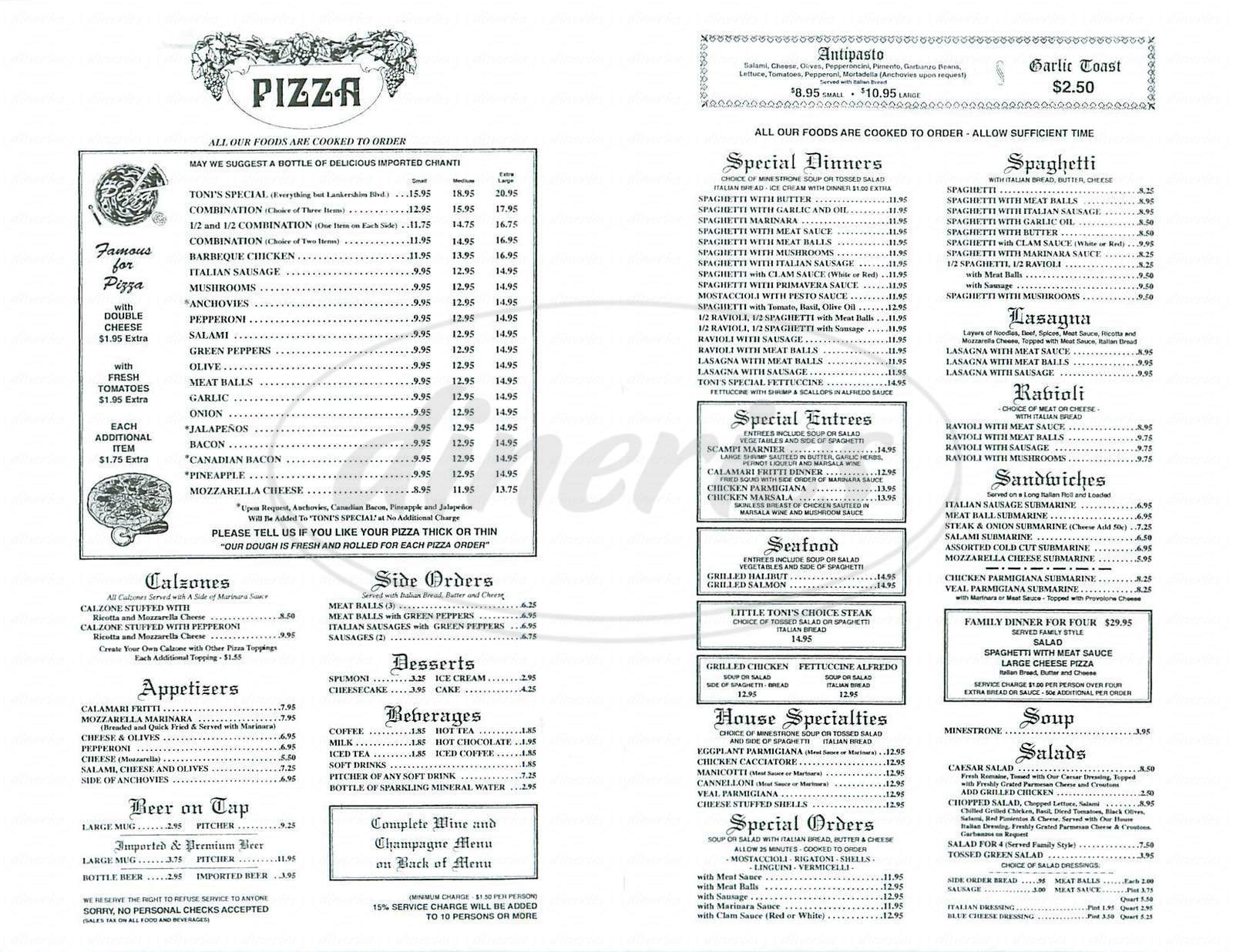 menu for Little Toni's
