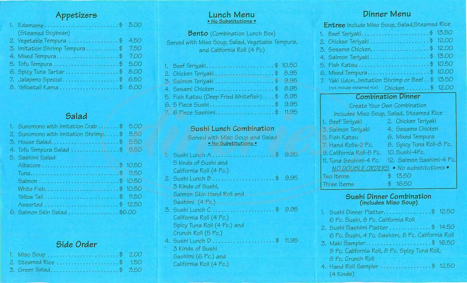 menu for Le Sushi