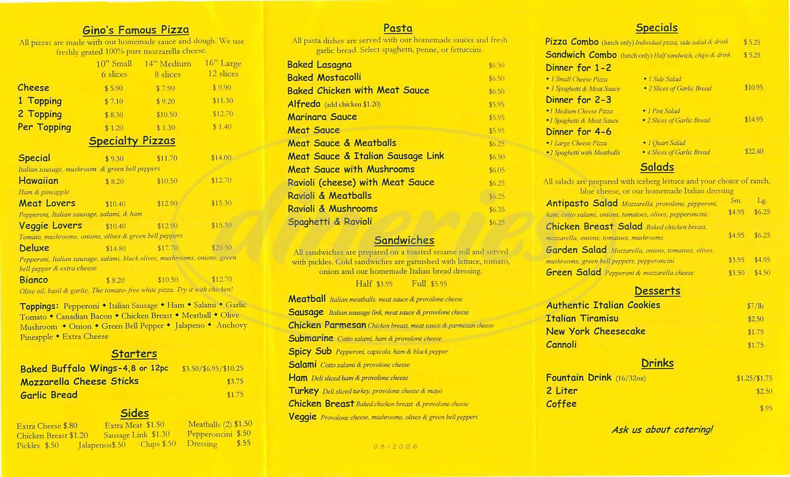 menu for Ravanellis Pizza