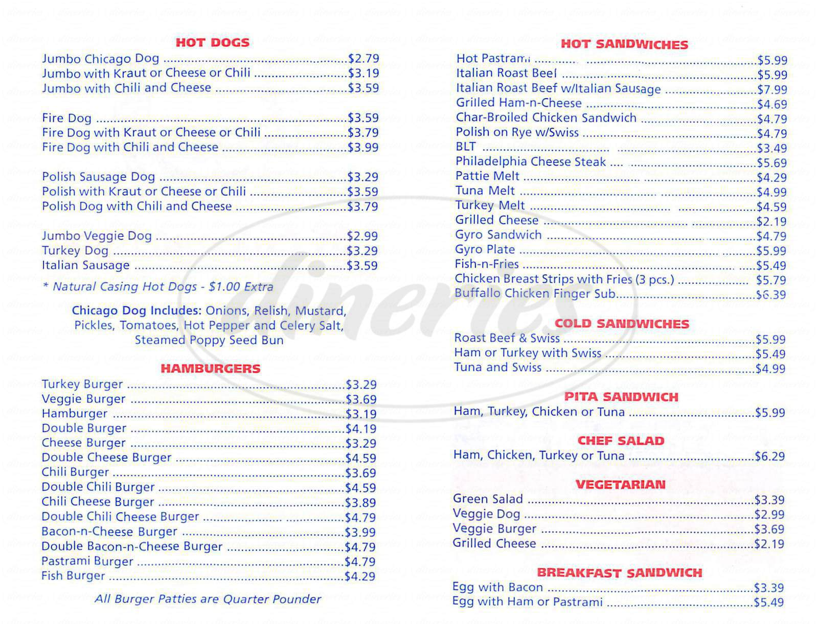 menu for Q T Chicago Dogs