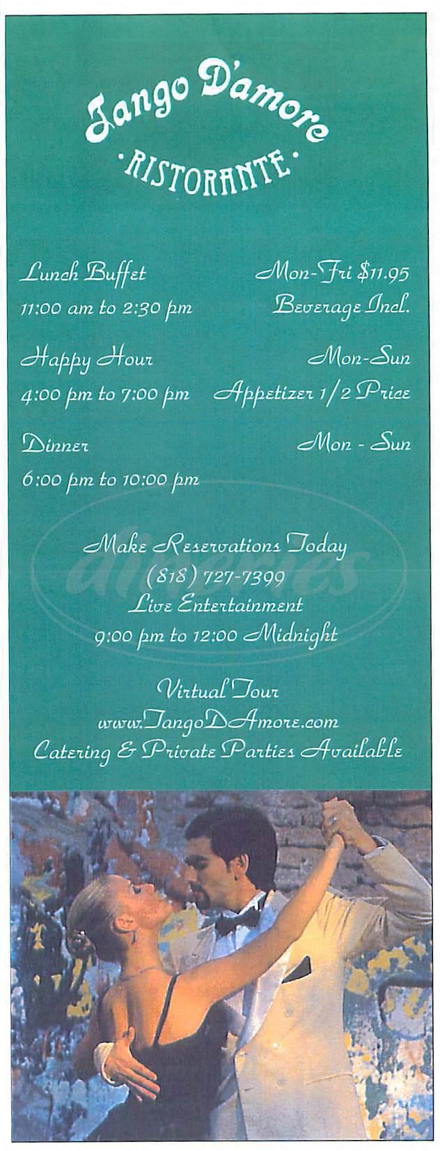 menu for Tango D'Amore Ristorante
