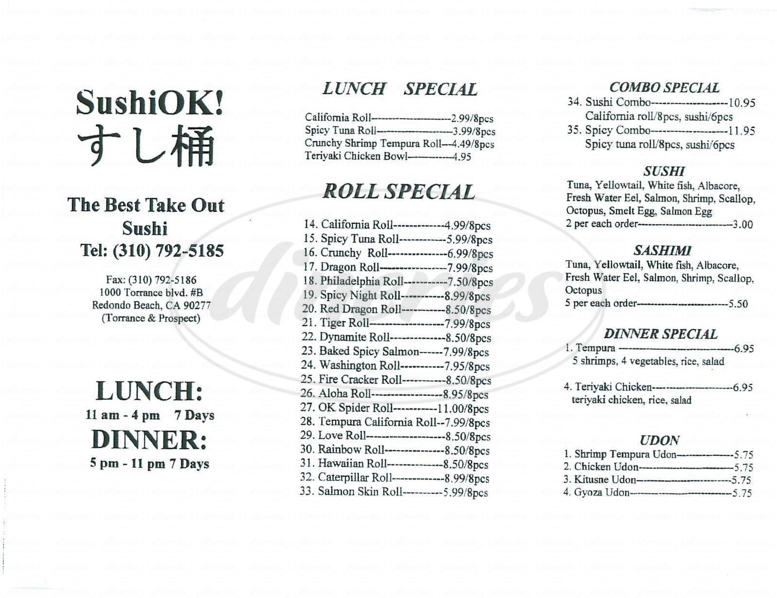 menu for Sushi Ok