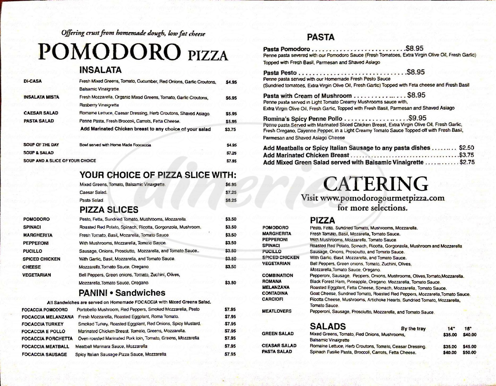 menu for Pomodoro Pizza