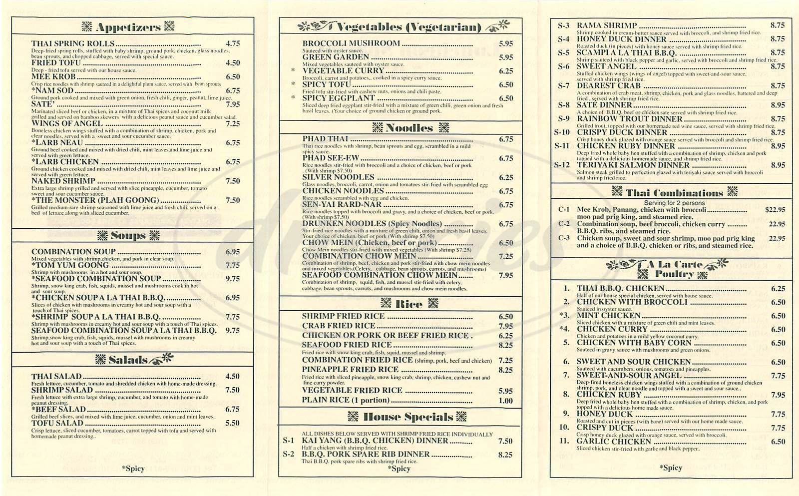 menu for Thai Original Bbq