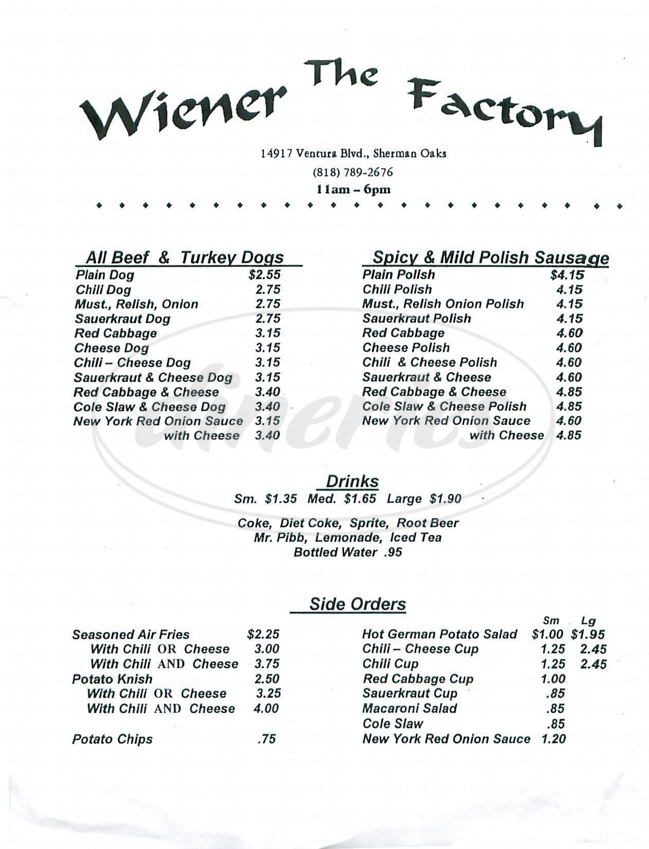 menu for The Wiener Factory