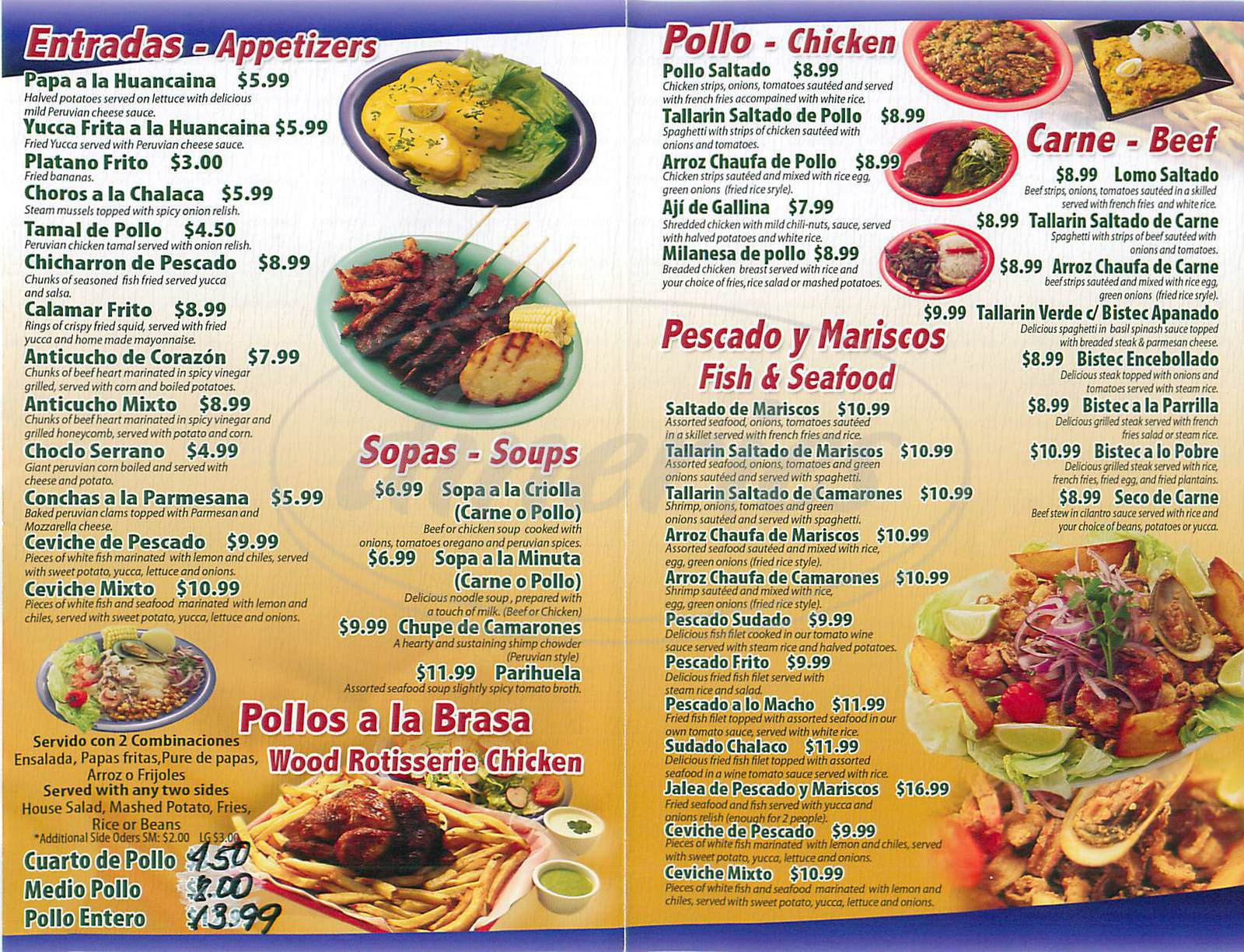 menu for Bonano's Peruvian Restaurant