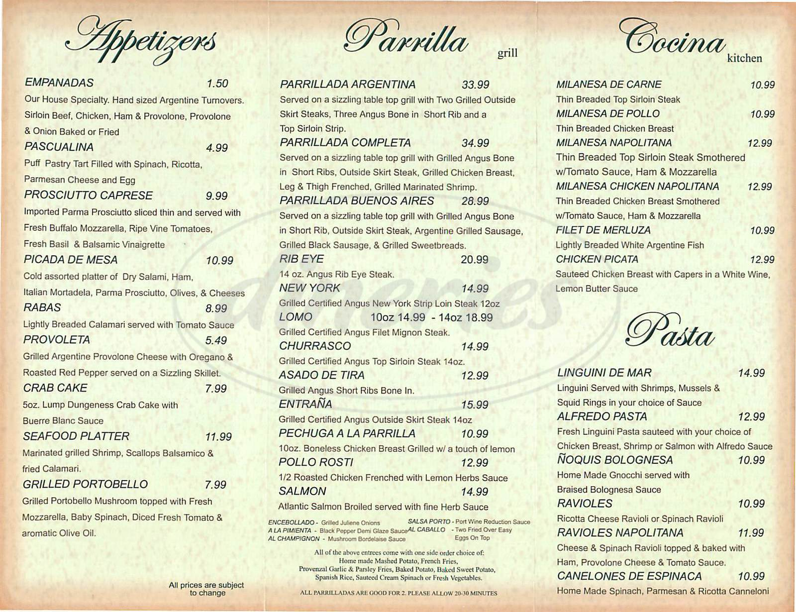 menu for Buenos Aires Grill