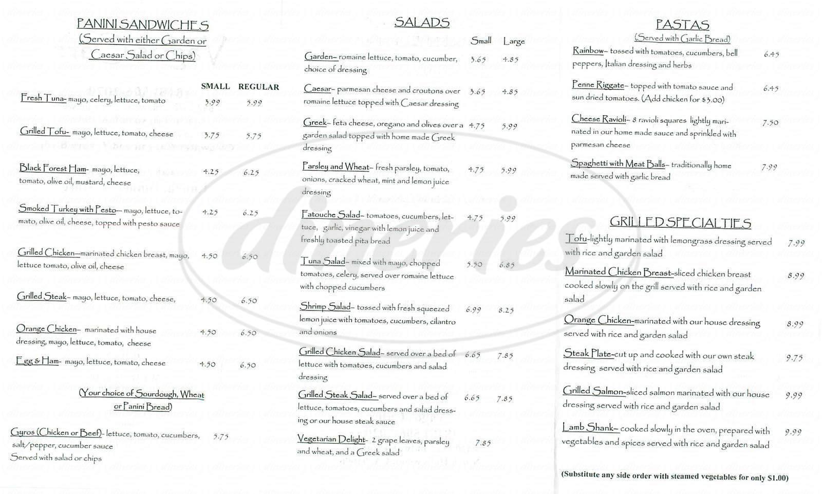 menu for Vagos Café