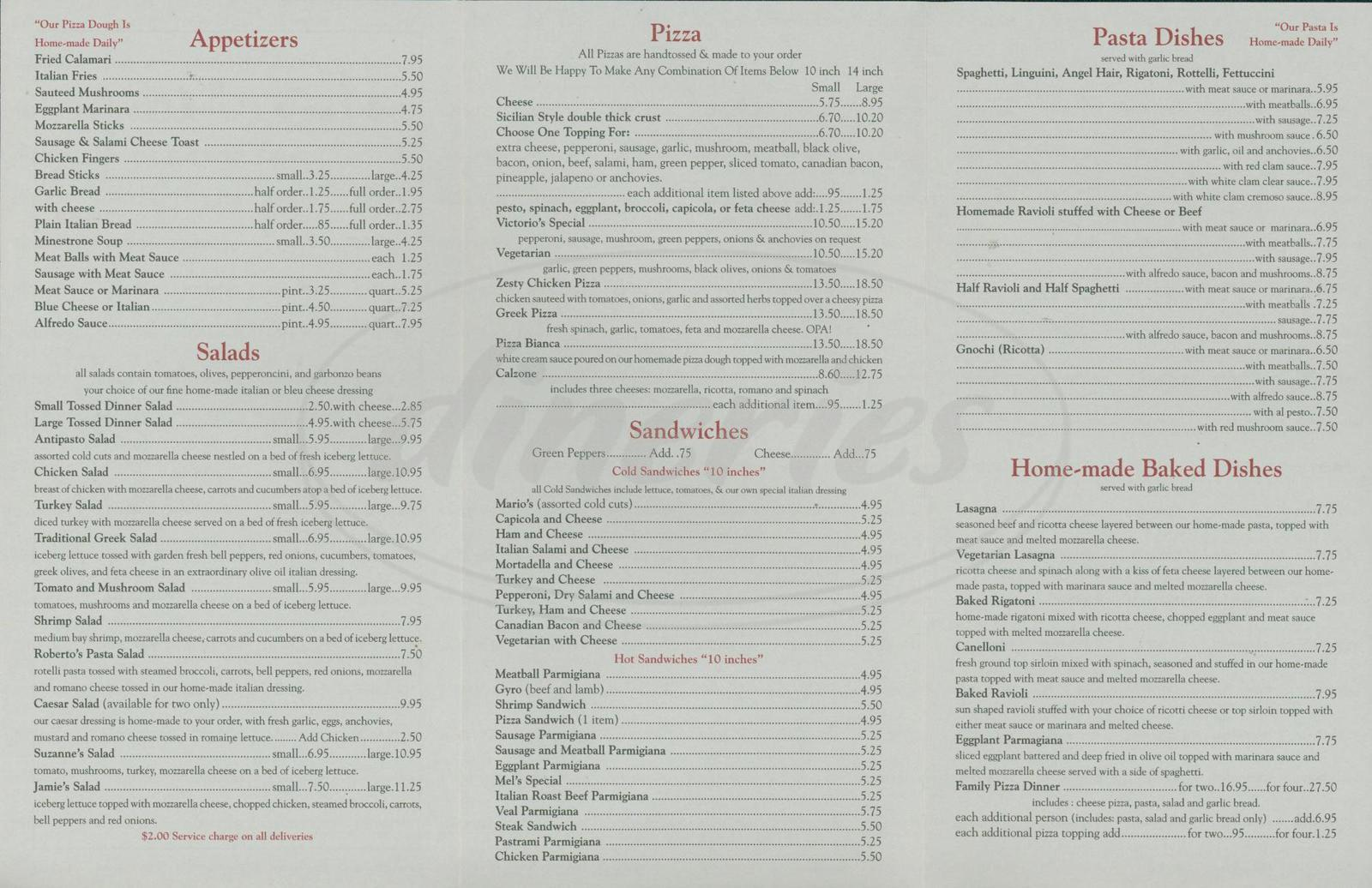 menu for Victorio's Ristorante