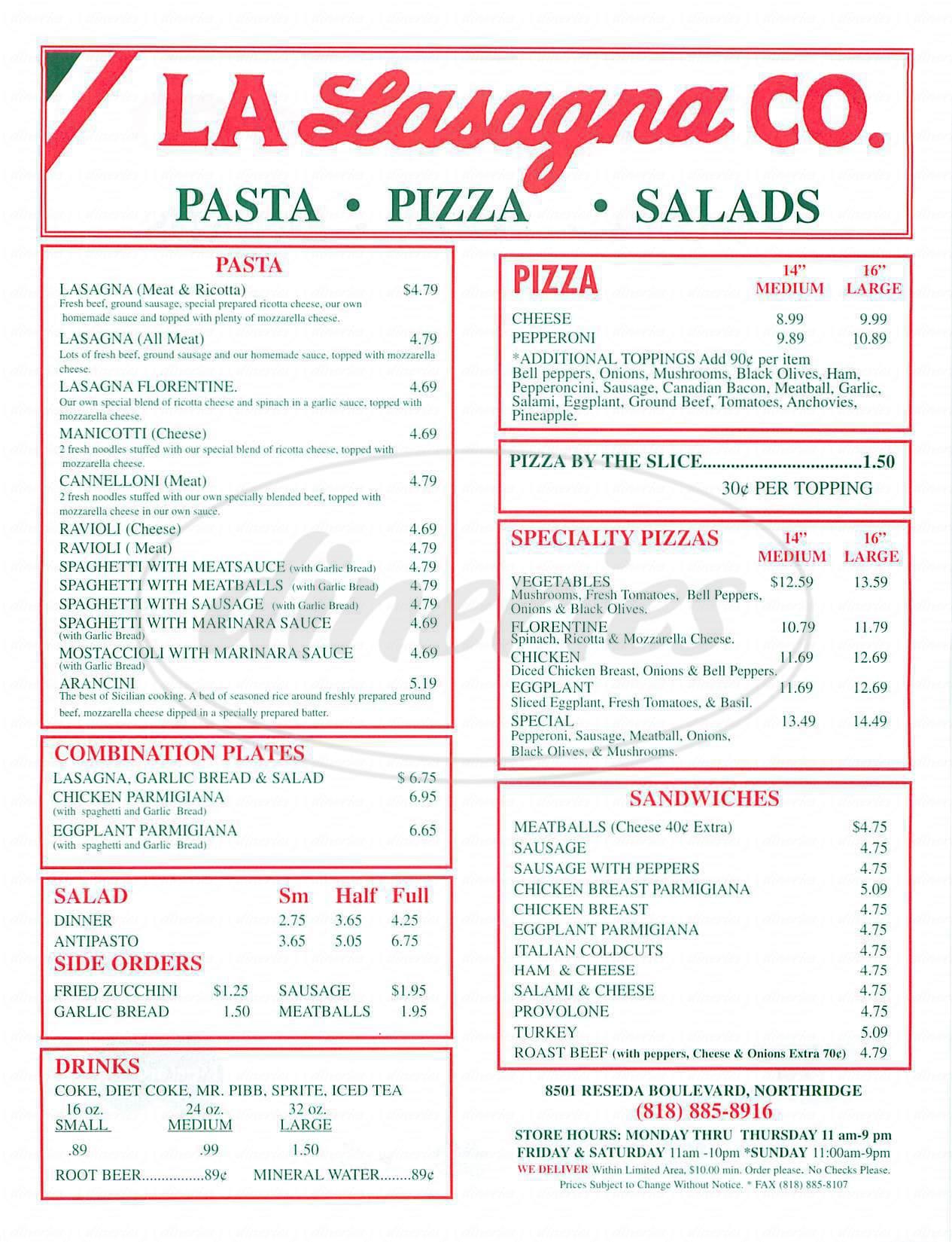 menu for LA Lasagna Company