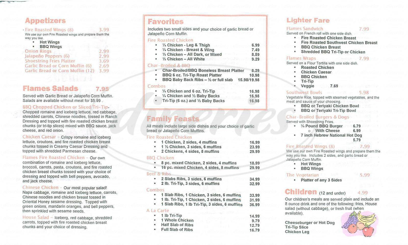 menu for Flames Smokehouse
