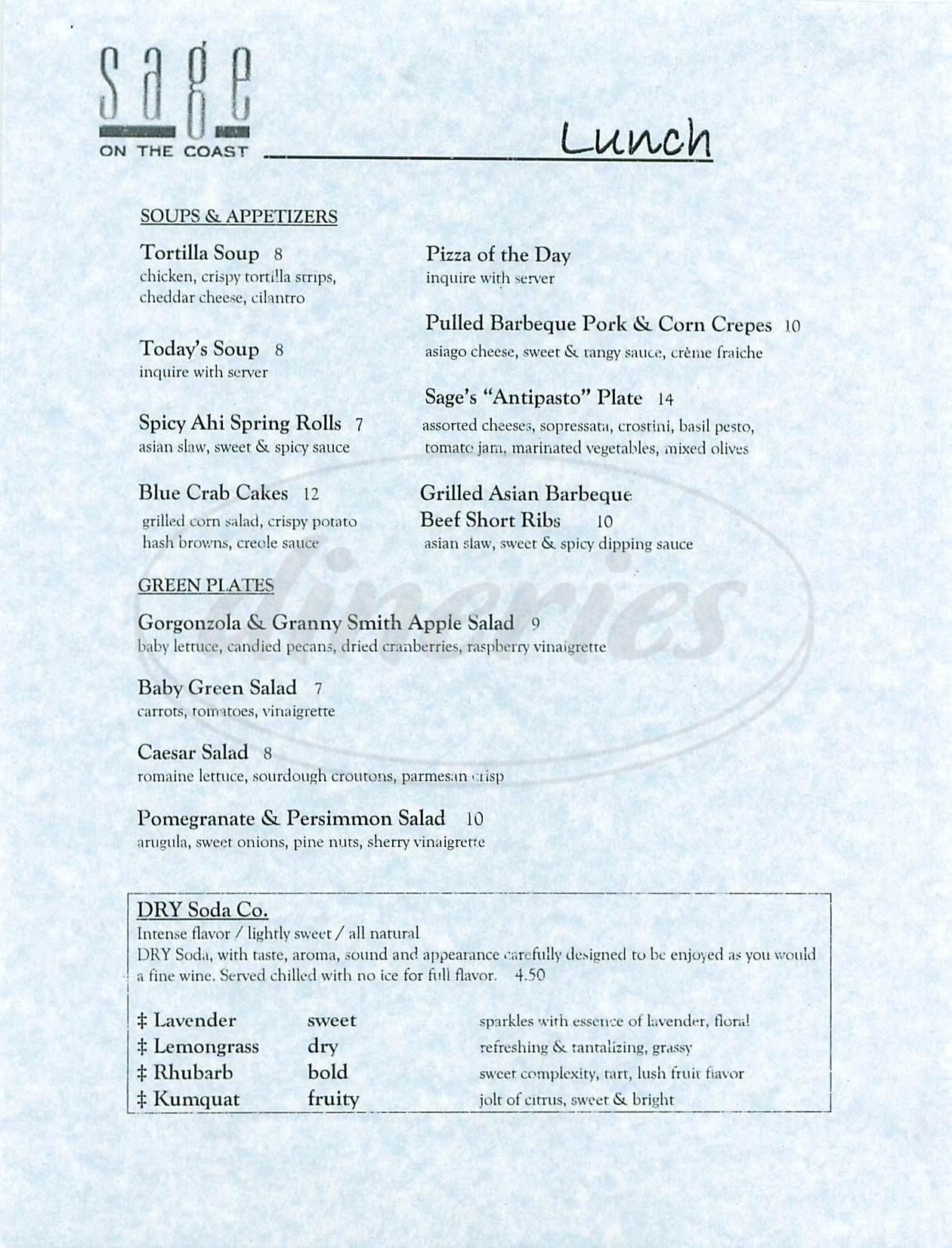 menu for Sage Restaurant
