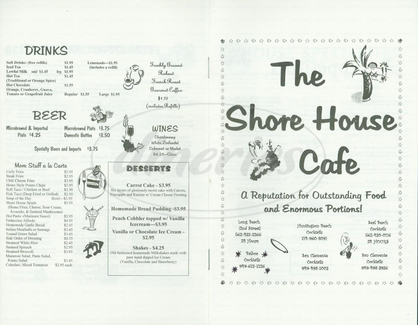 menu for Shore House Café