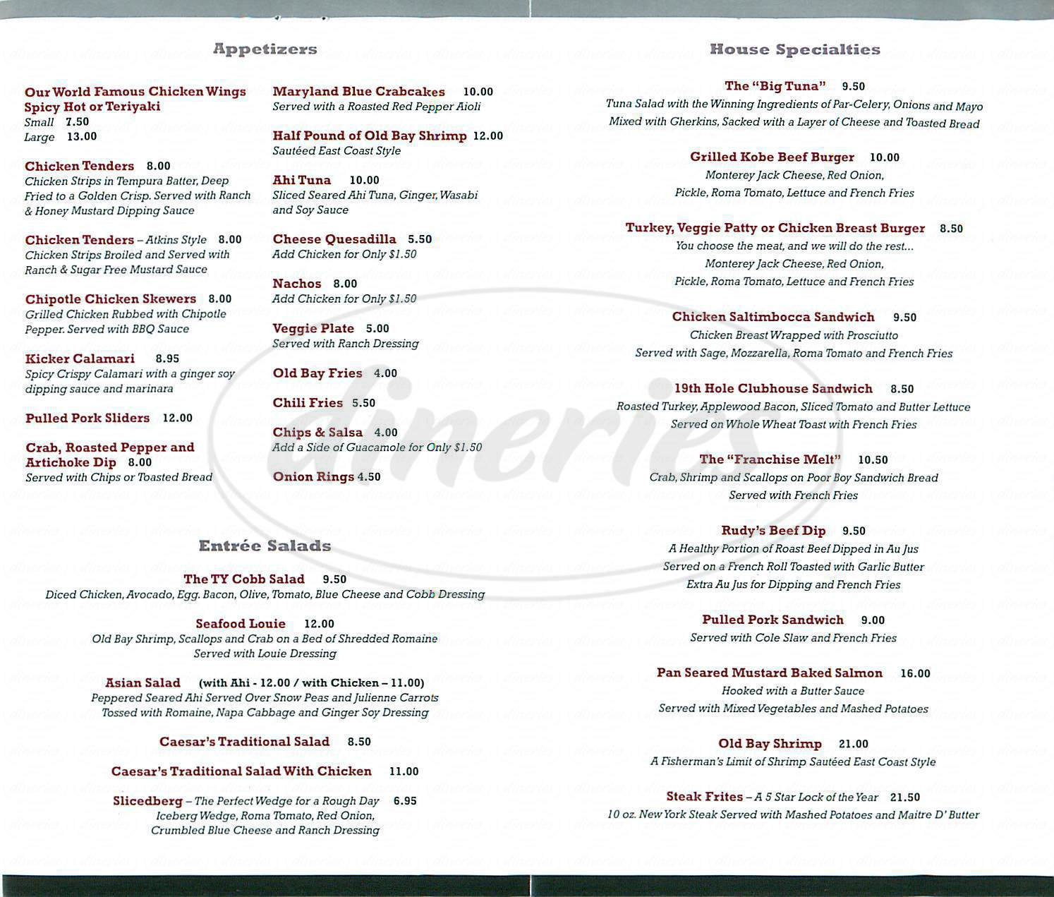 menu for Rudys Pub & Grill