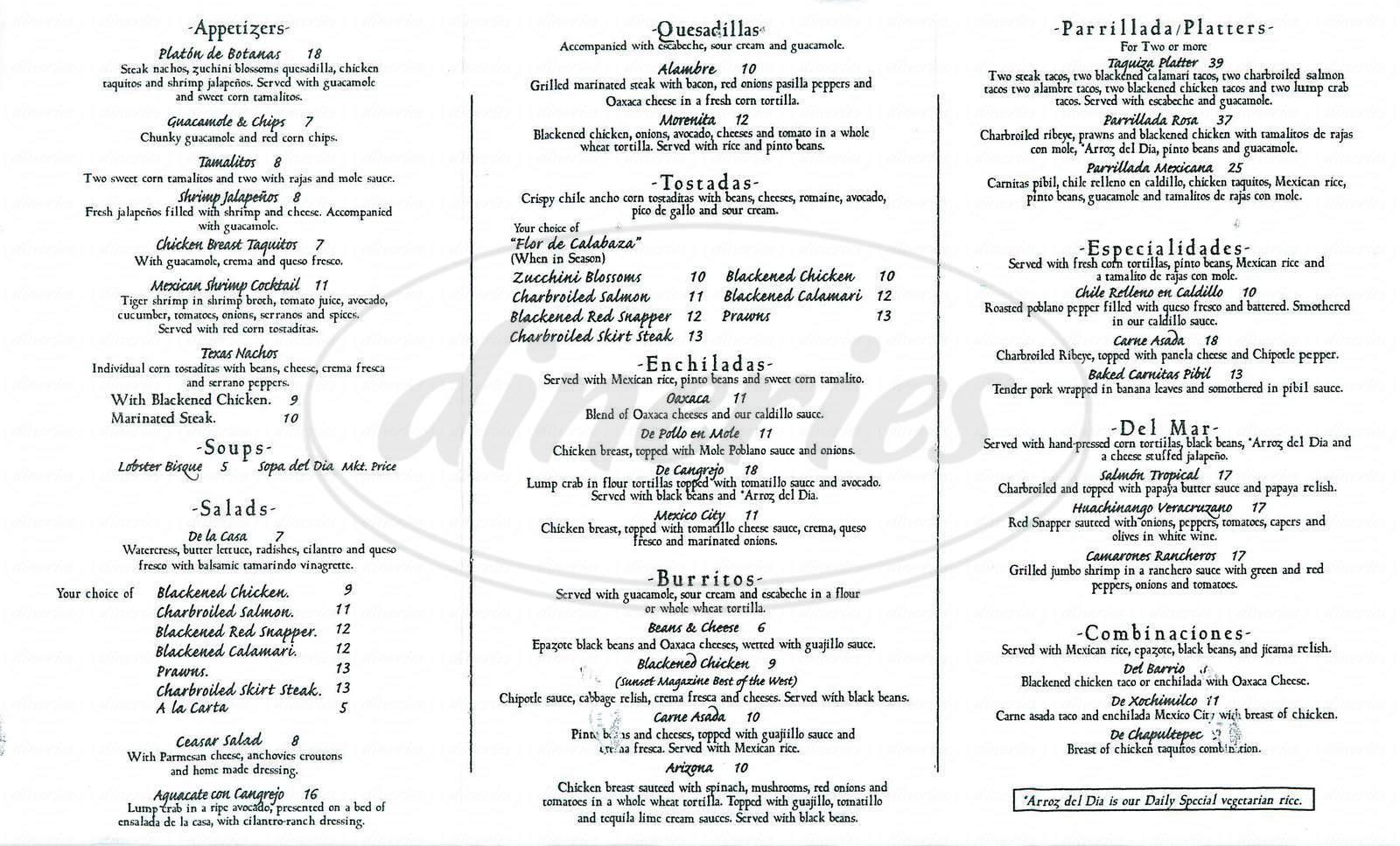 menu for Taco Rosa