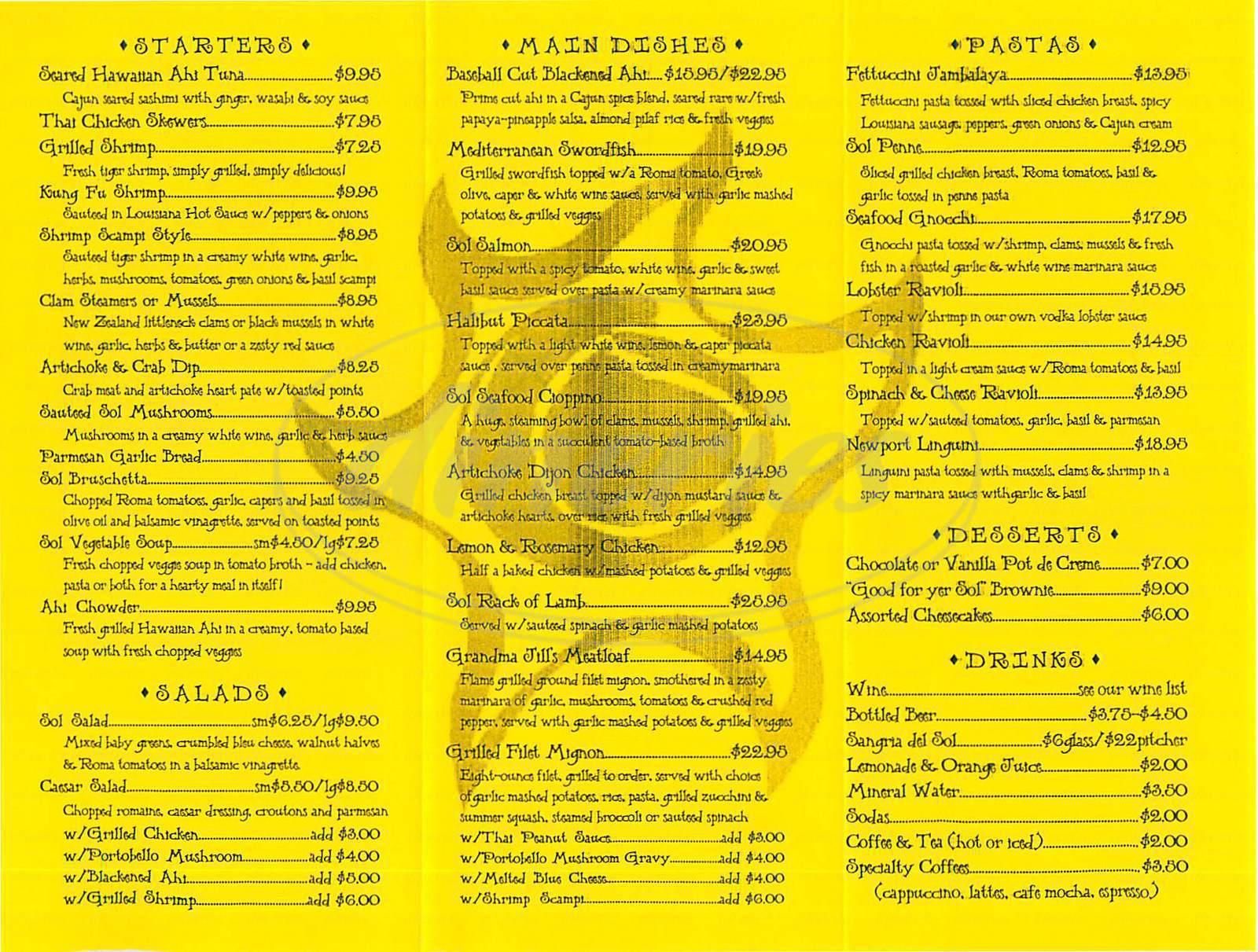 menu for Sol Grill