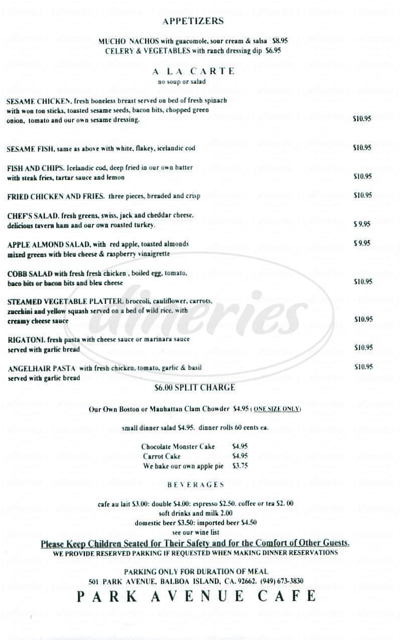 menu for Park Avenue Café