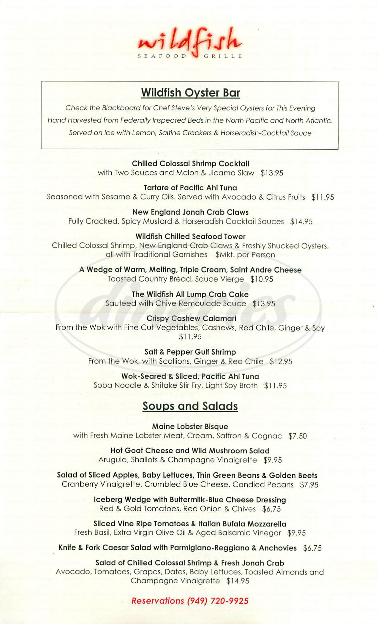 menu for Wildfish Sea Food Grille
