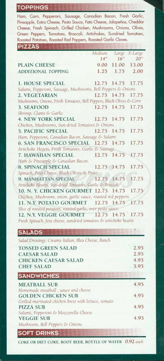 menu for New York Pizza Kitchen
