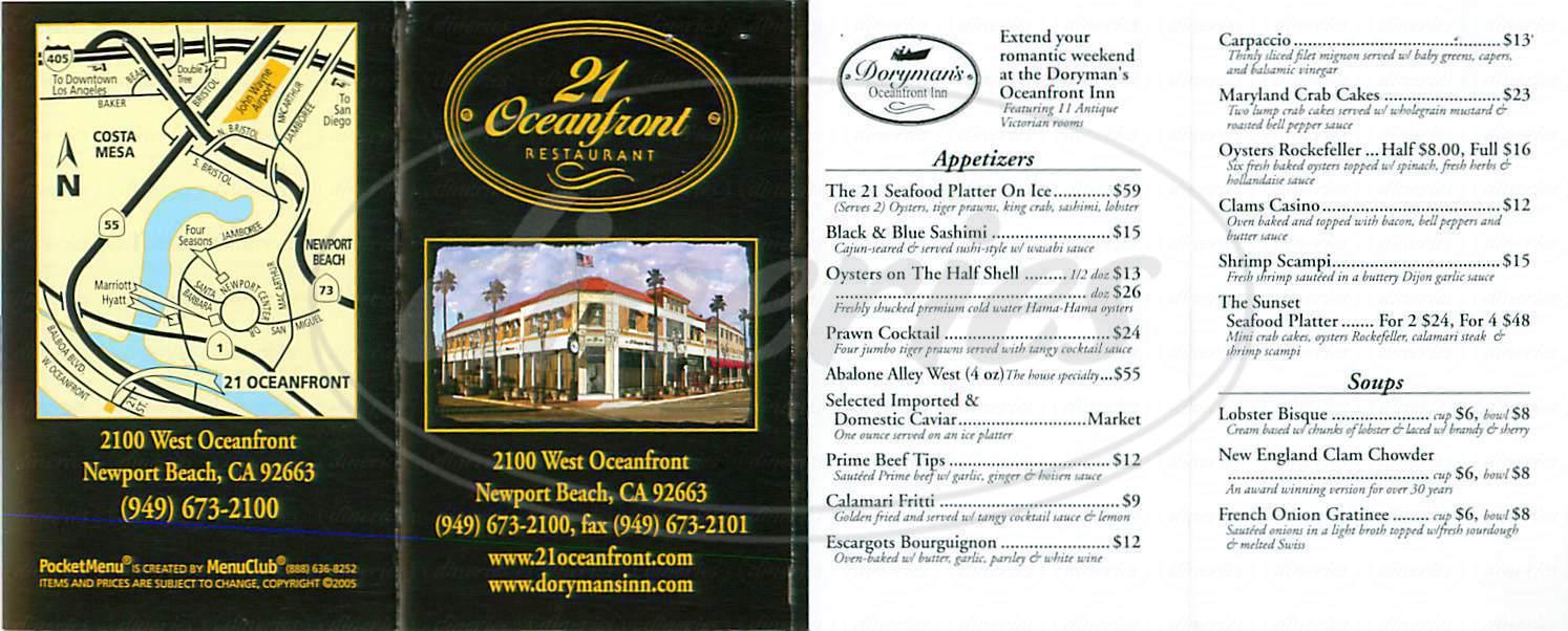 menu for 21 Oceanfront