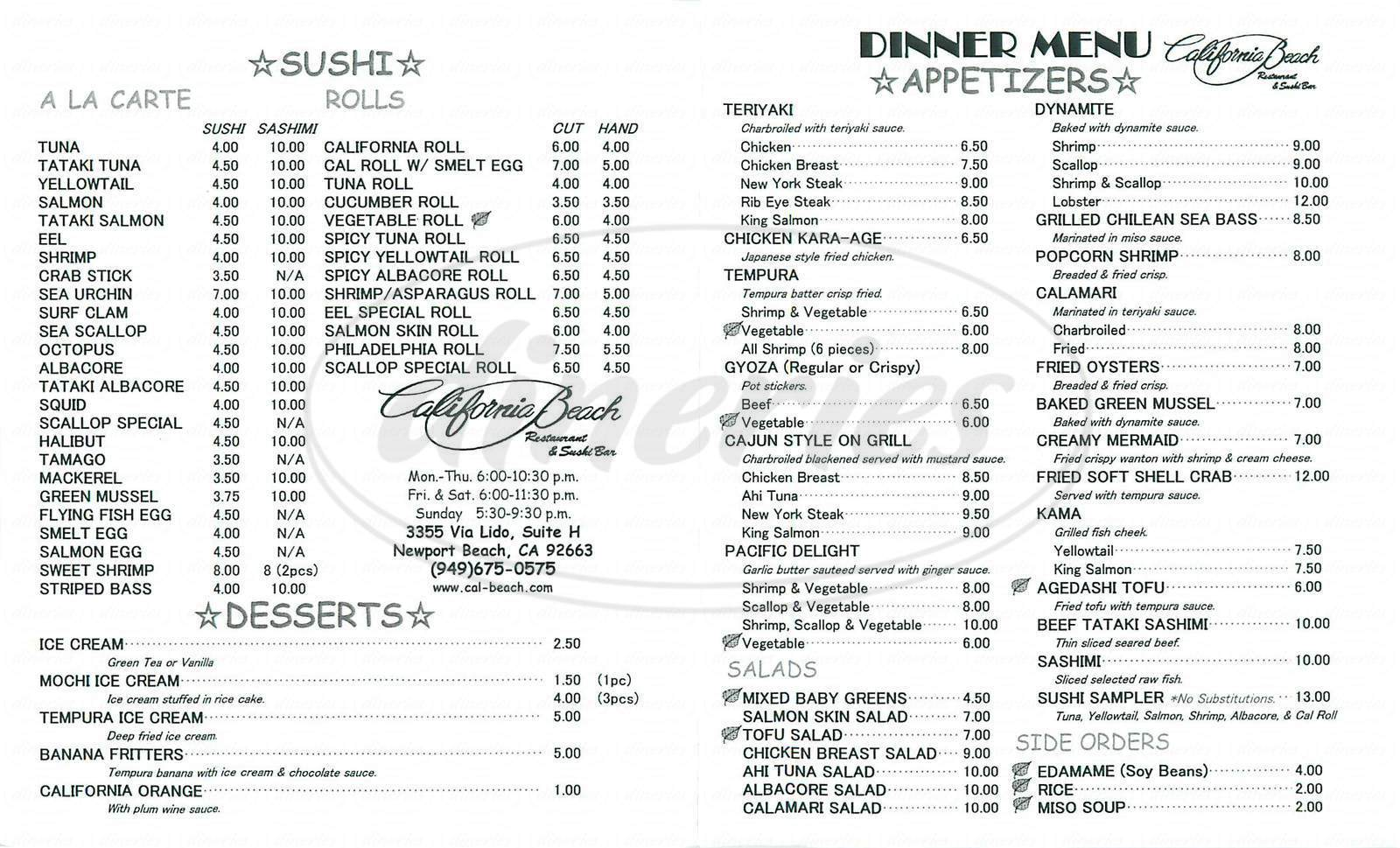 menu for California Beach Restaurant