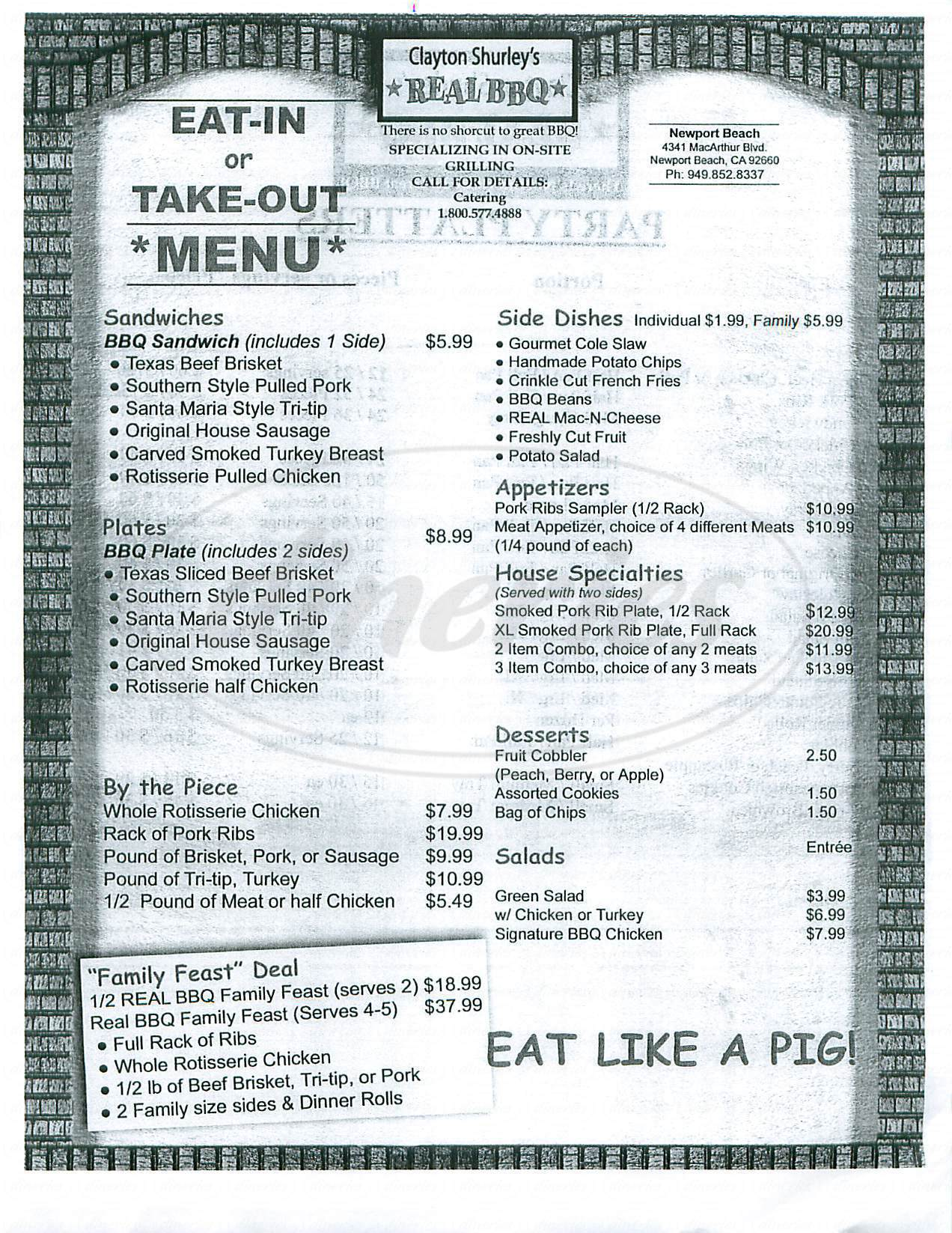 menu for Clayton Shurley's Real BBQ