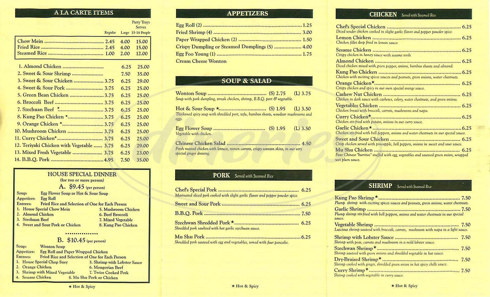 menu for Newport China Kitchen