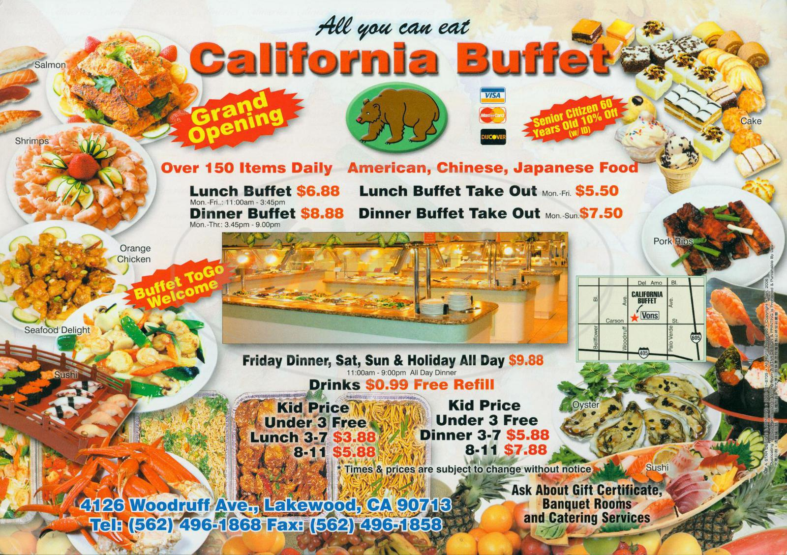 menu for California Buffet