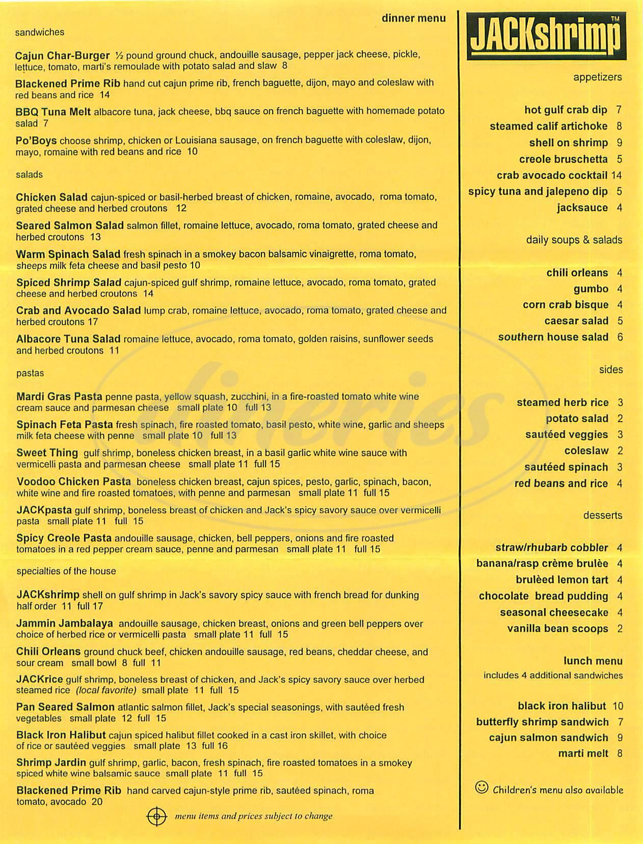 menu for Jack Shrimp Restaurant