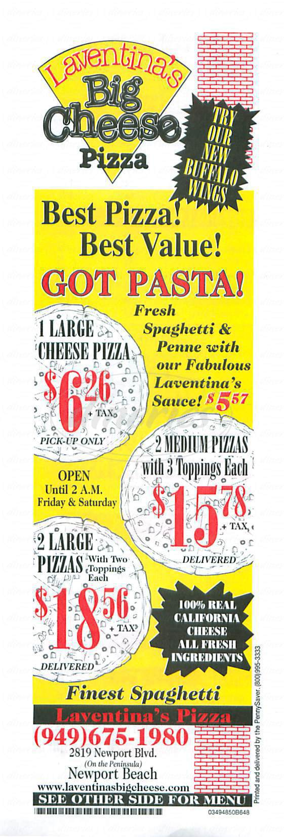 menu for Laventinas Big Cheese Pizza
