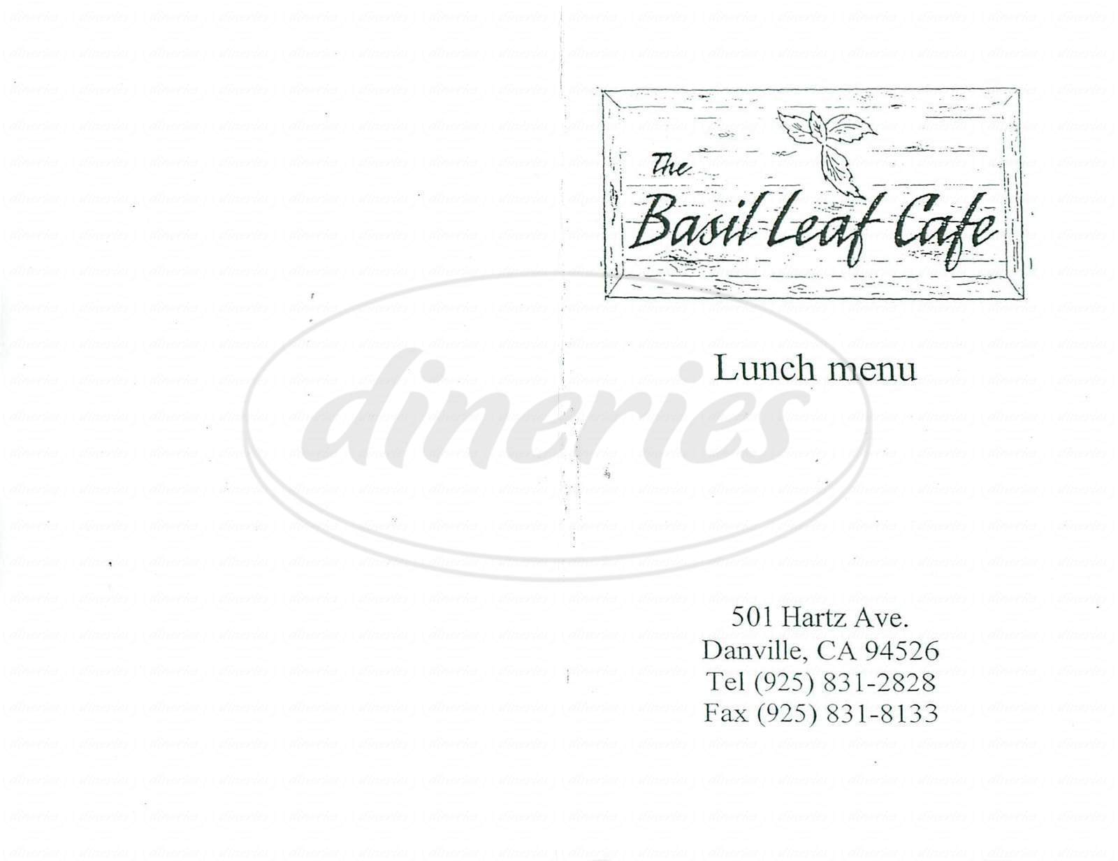 menu for Basil Leaf Cafe