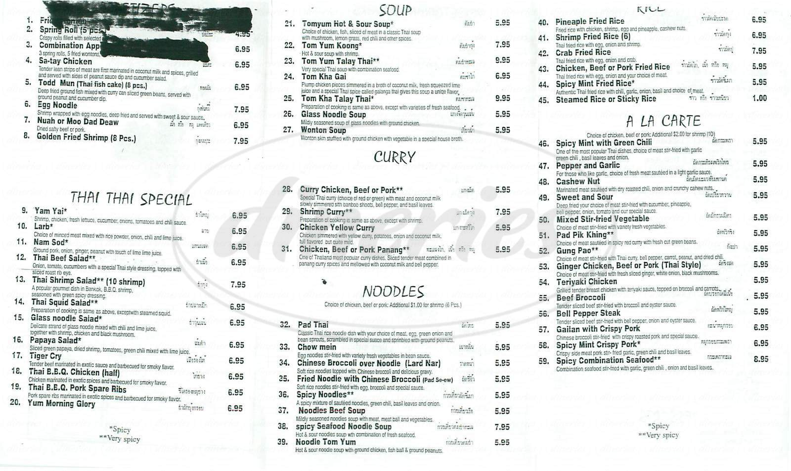 menu for Sassy's Thai Cuisine