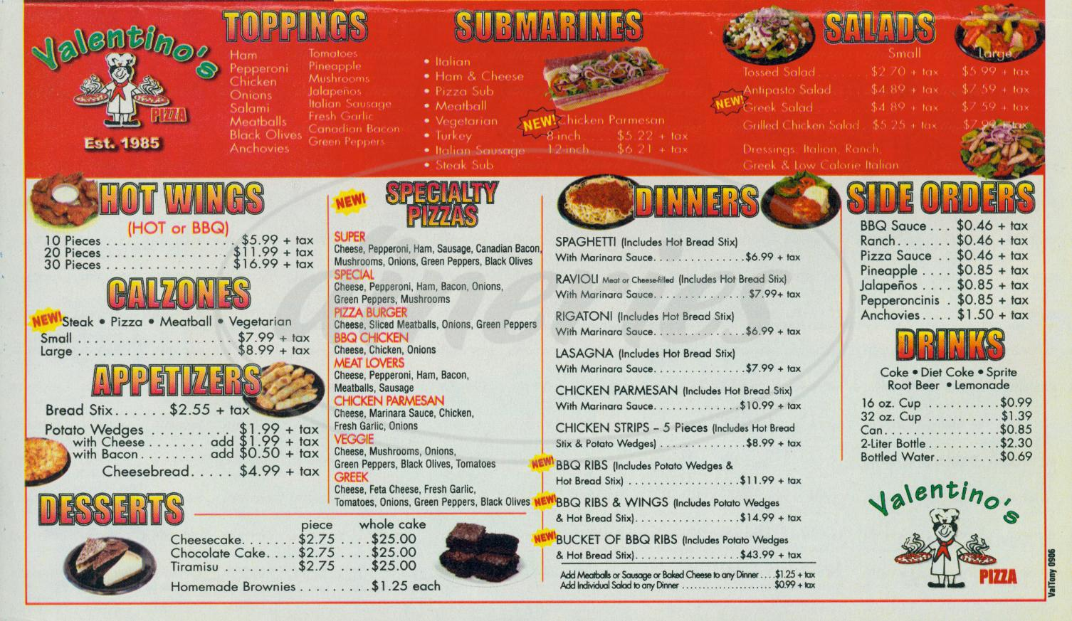 menu for Valentinos Pizza