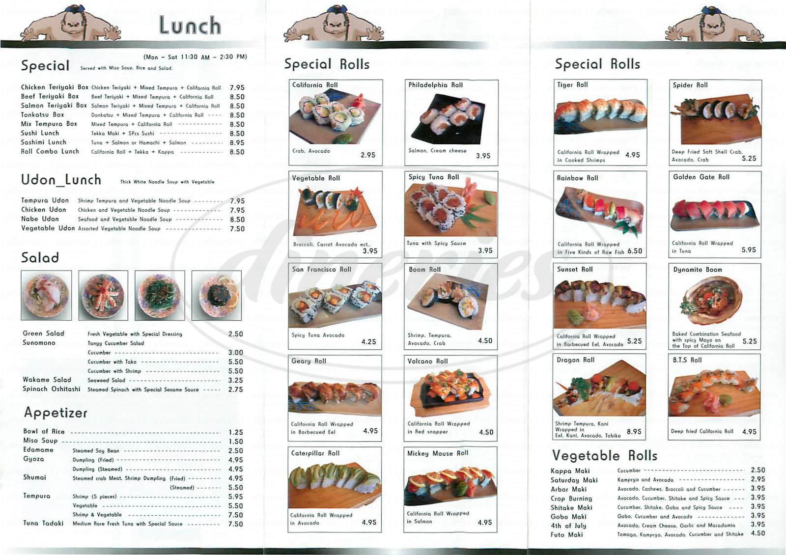 menu for Sushi Boom