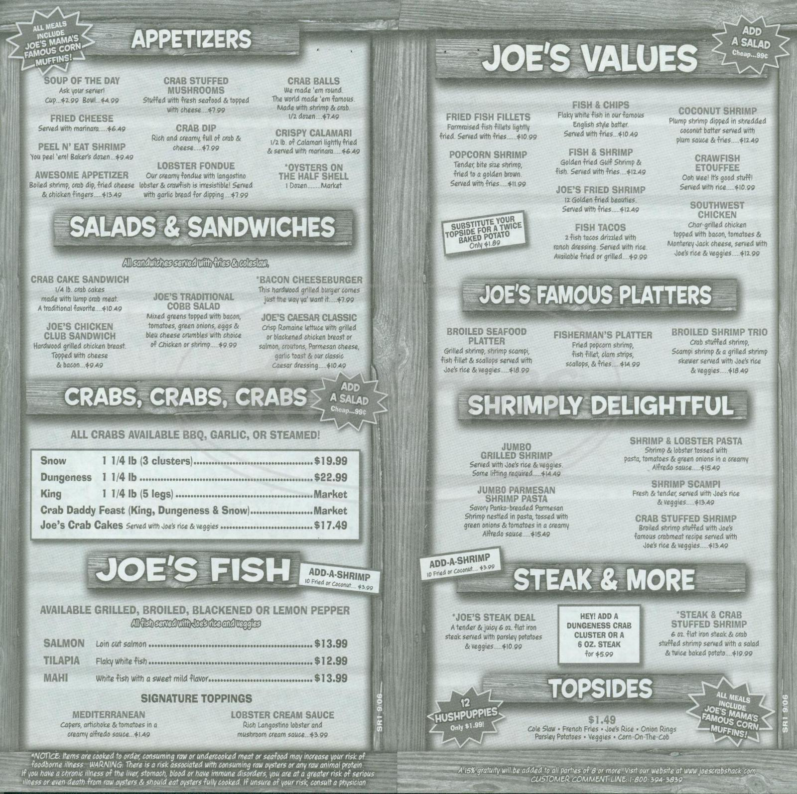 menu for Joe's Crab Shack